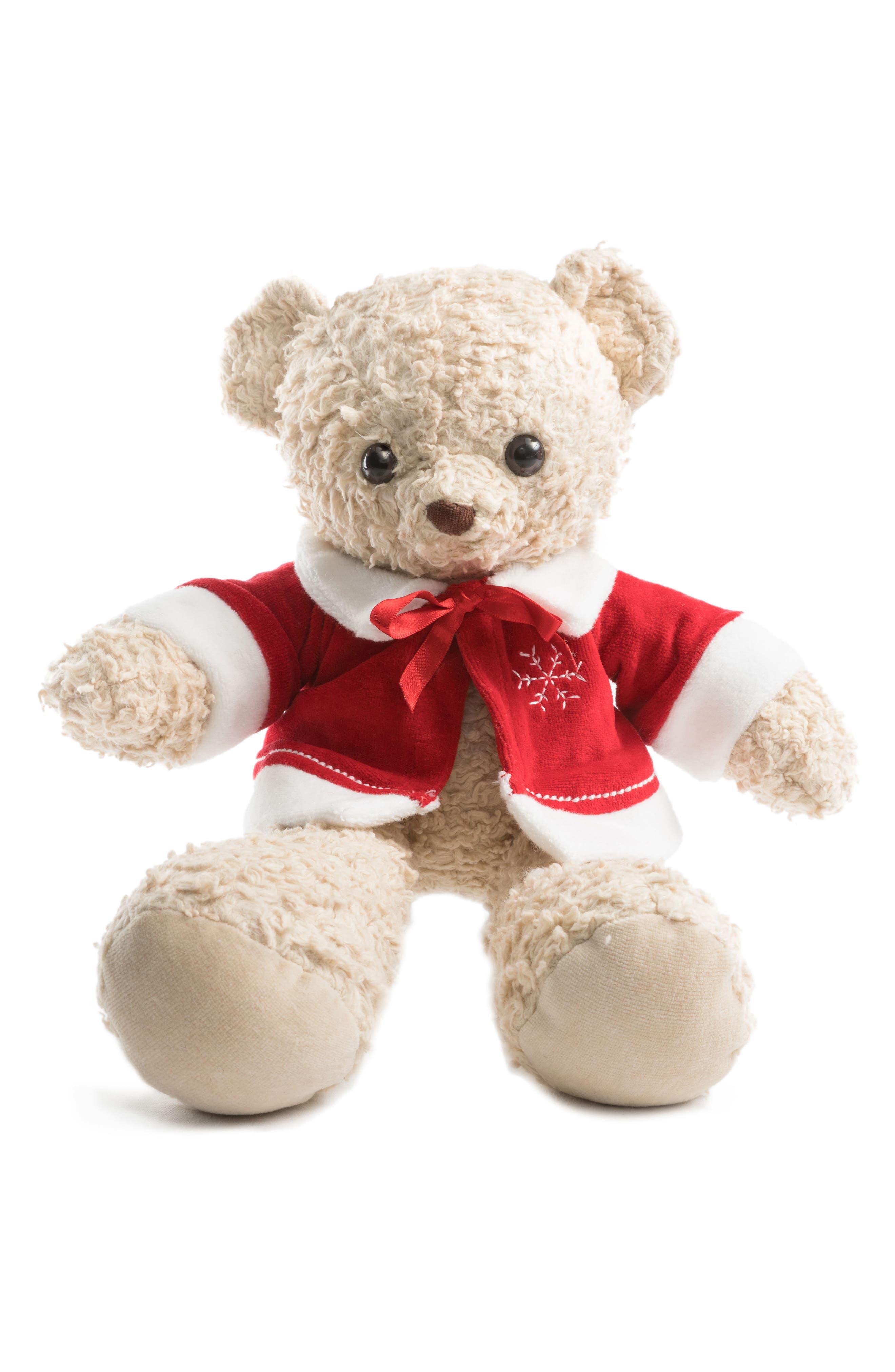 Medium Stuffed Bear with Holiday Jacket,                             Main thumbnail 3, color,