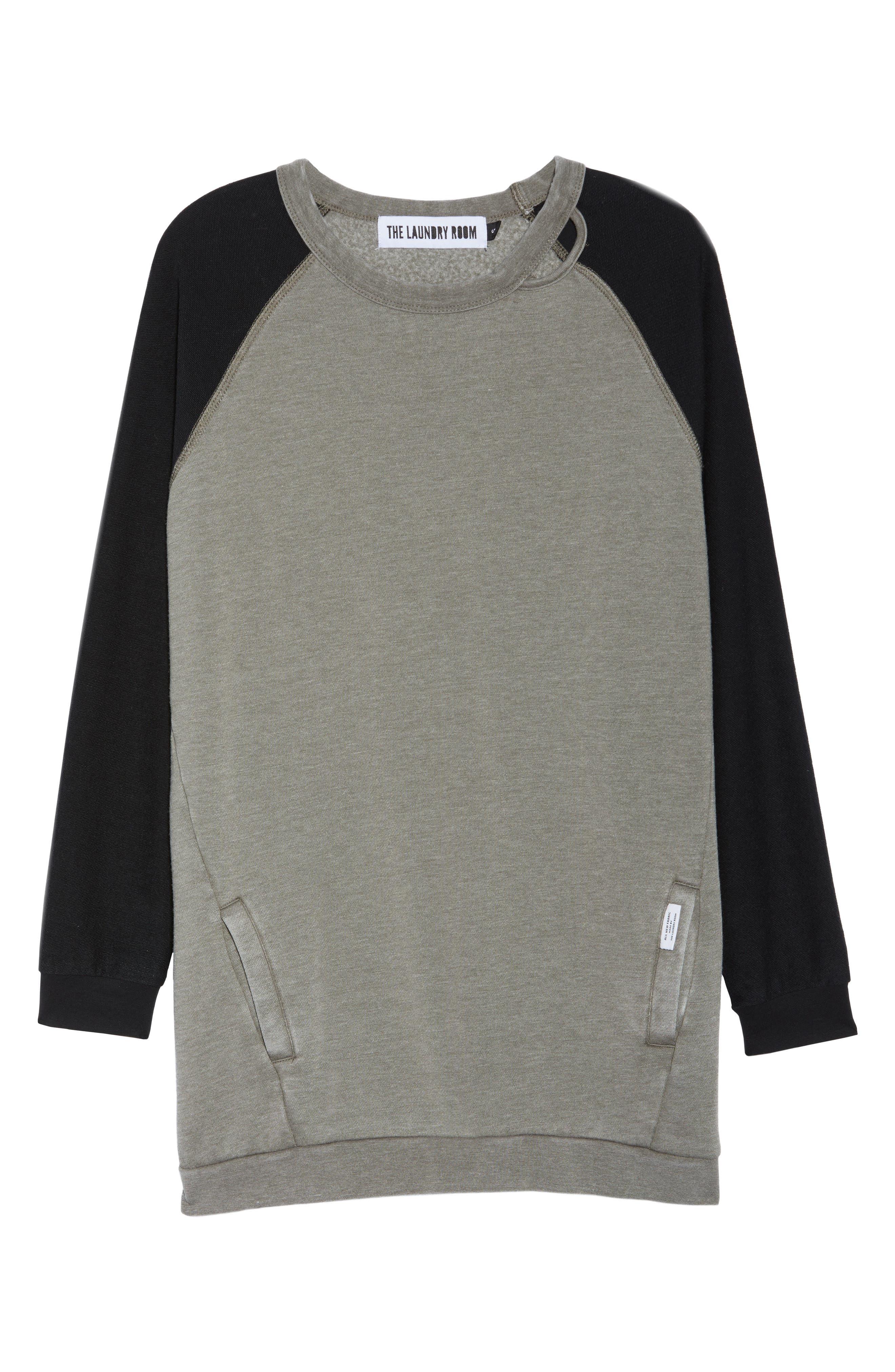 Lounge Sweatshirt Dress,                             Alternate thumbnail 6, color,                             001