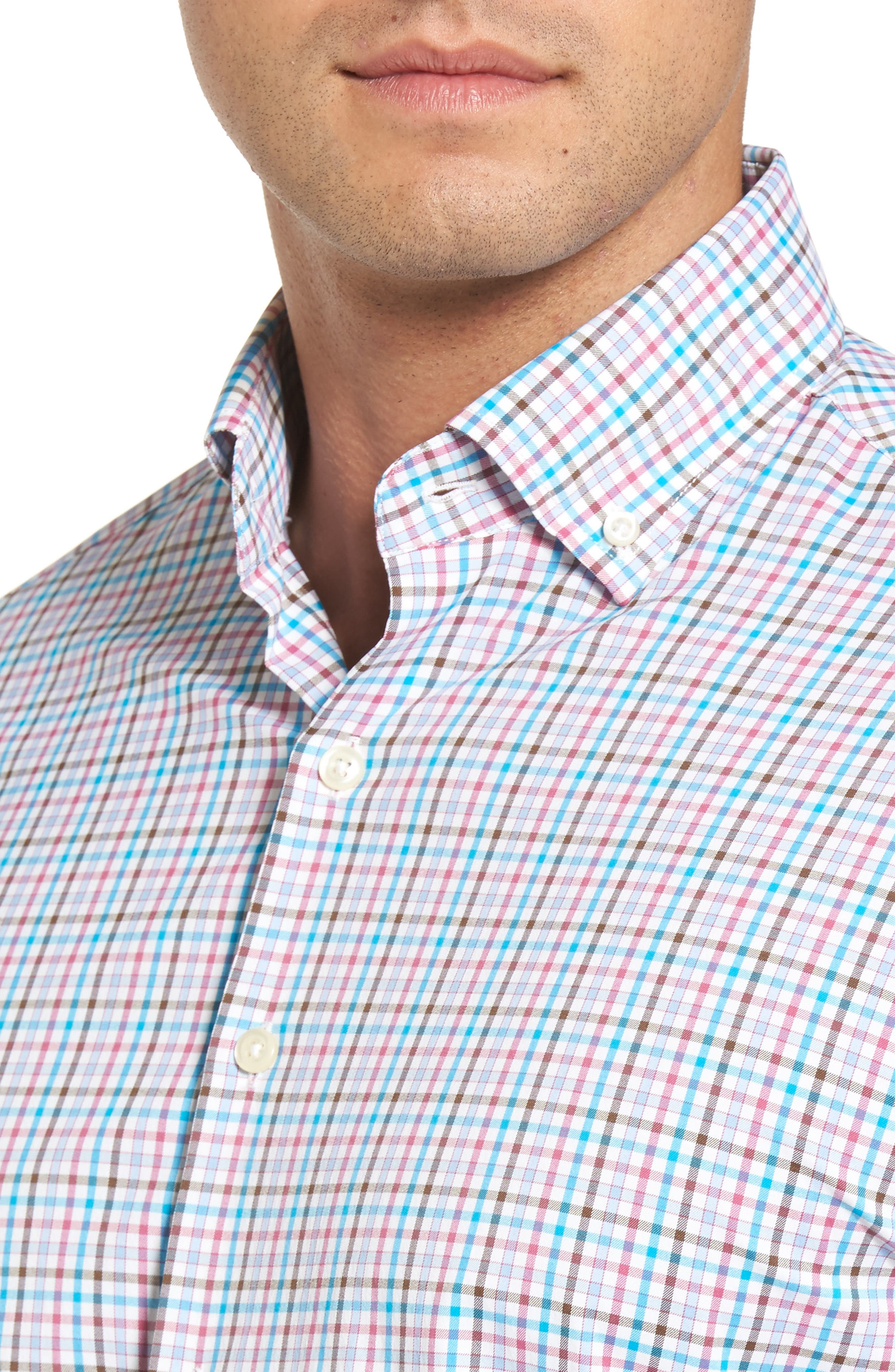 Post Regular Fit Check Performance Sport Shirt,                             Alternate thumbnail 4, color,                             100