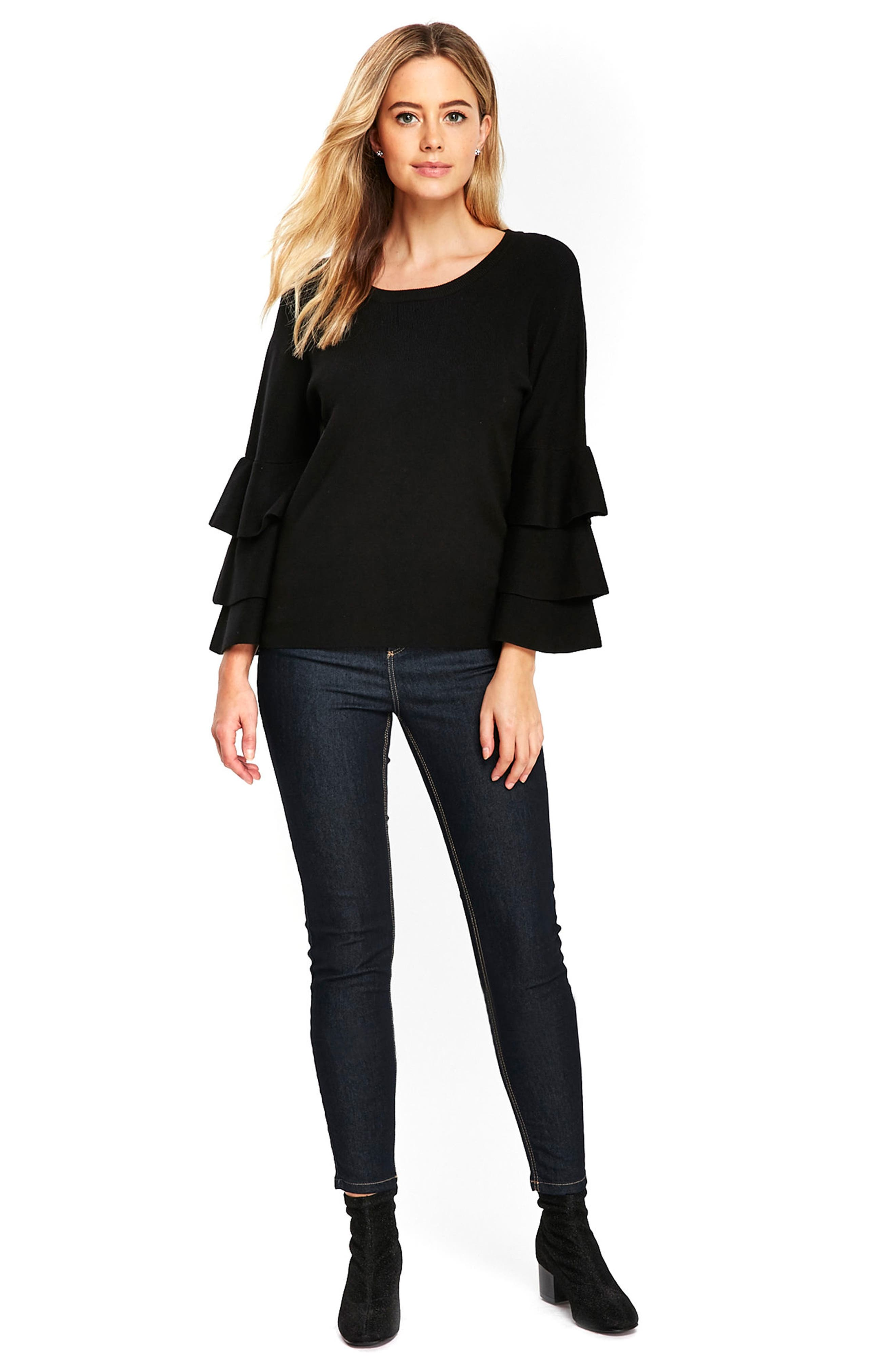 Tiered Ruffle Sleeve Top,                             Alternate thumbnail 5, color,                             001
