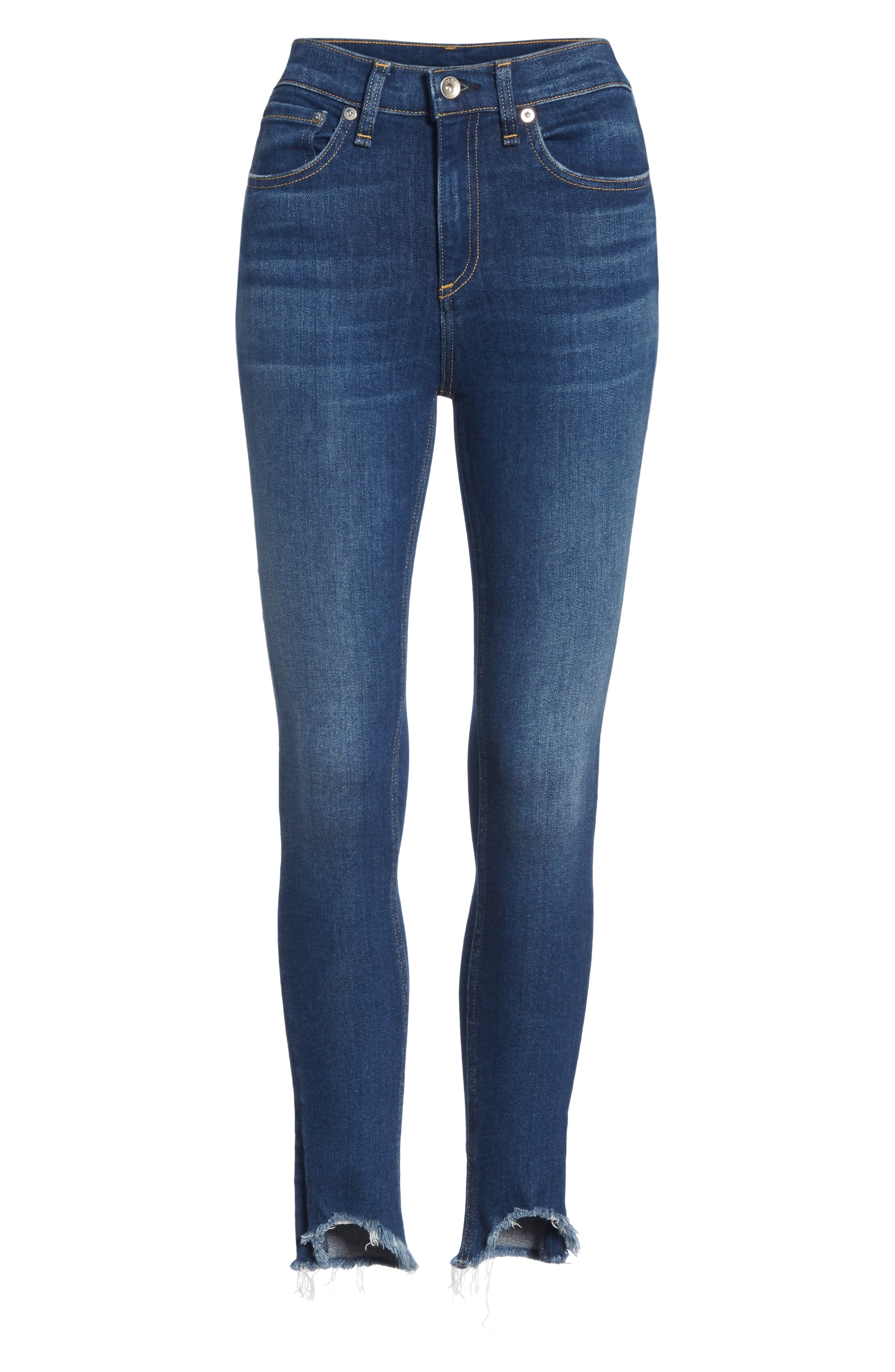 High Waist Fray Crop Skinny Jeans,                             Alternate thumbnail 7, color,                             LENOX