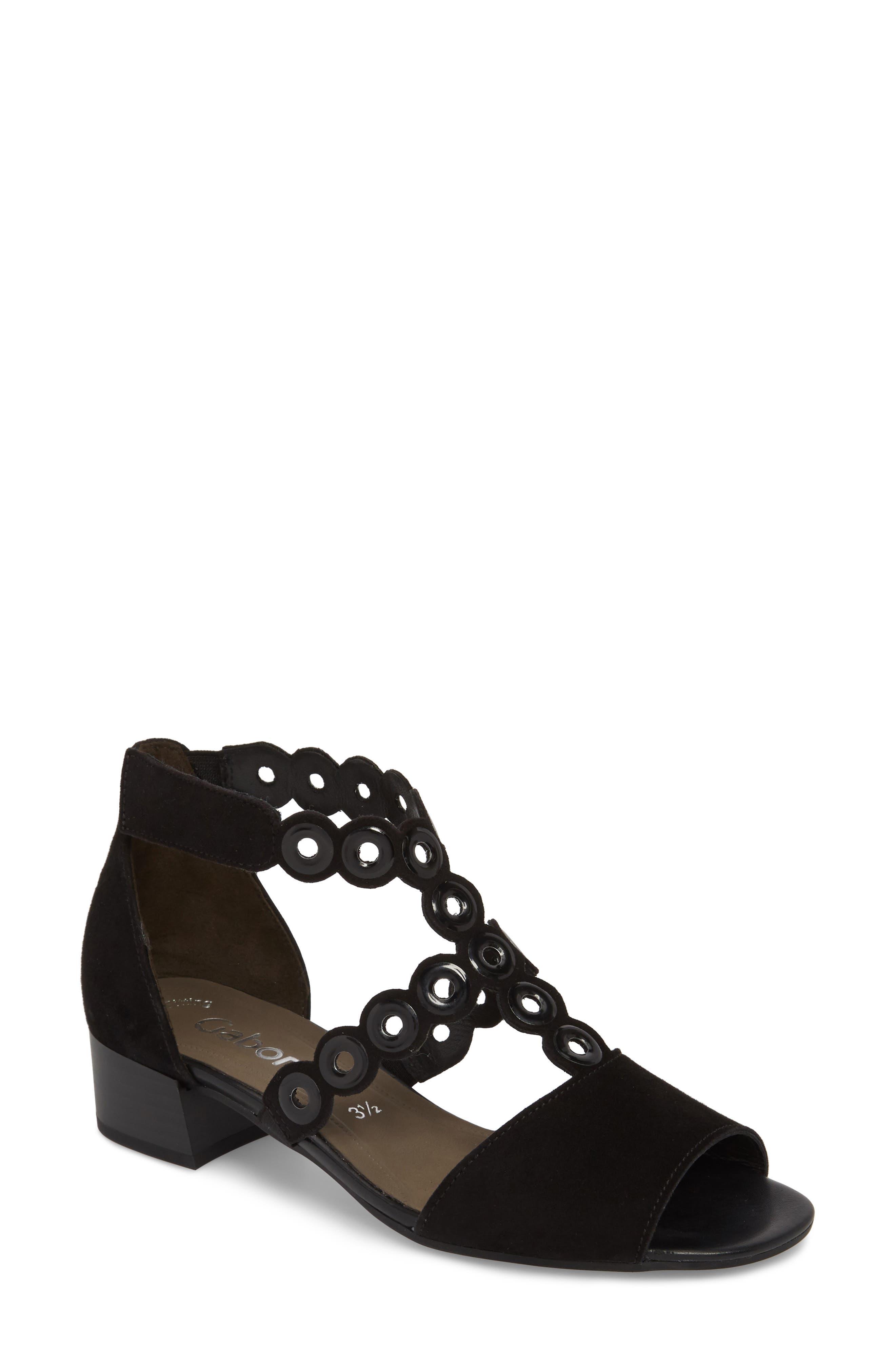 T-Strap Sandal,                             Main thumbnail 1, color,                             BLACK SUEDE