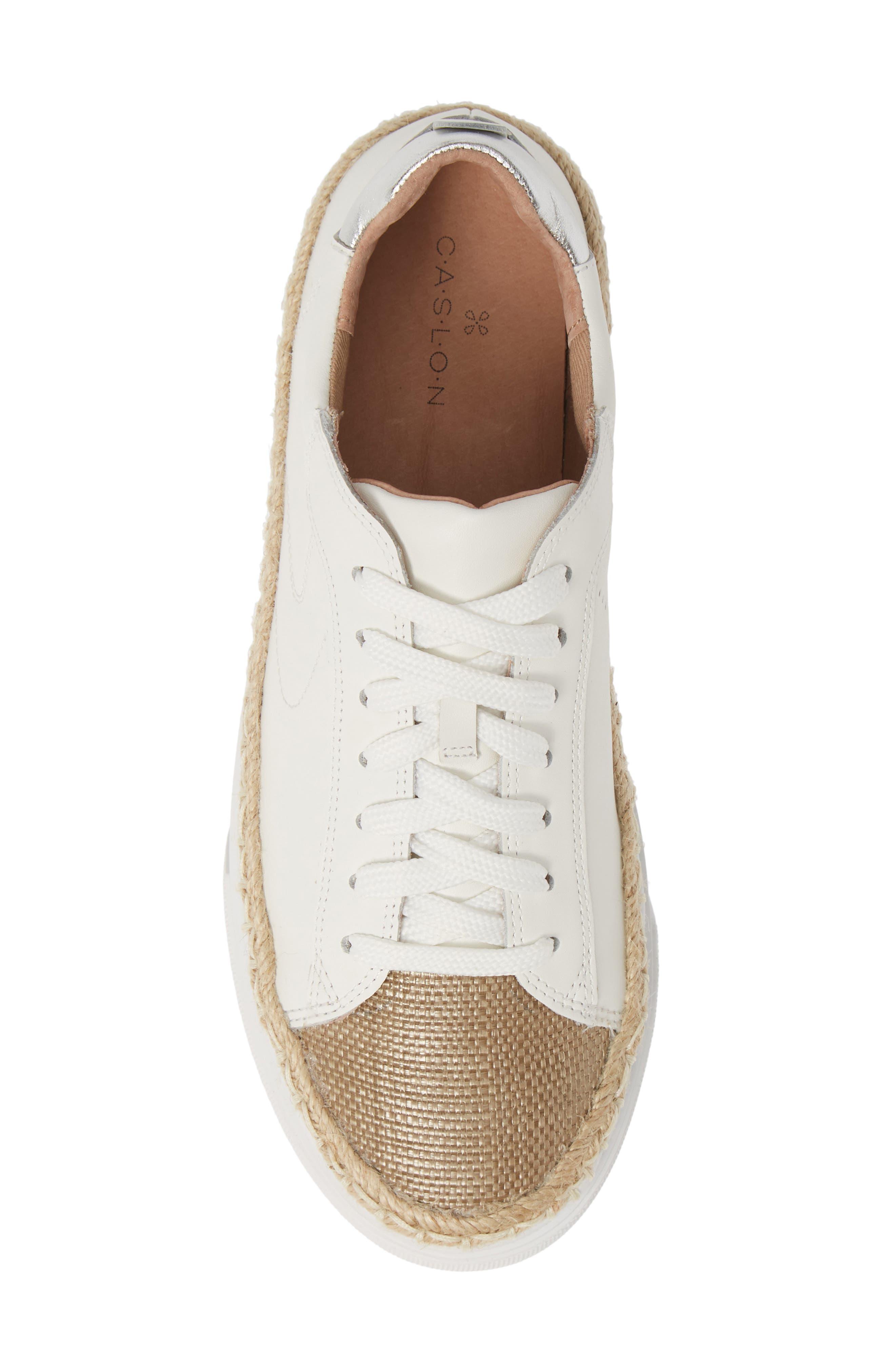 CASLON<SUP>®</SUP>,                             Caleb Platform Sneaker,                             Alternate thumbnail 5, color,                             WHITE LEATHER/ RAFFIA