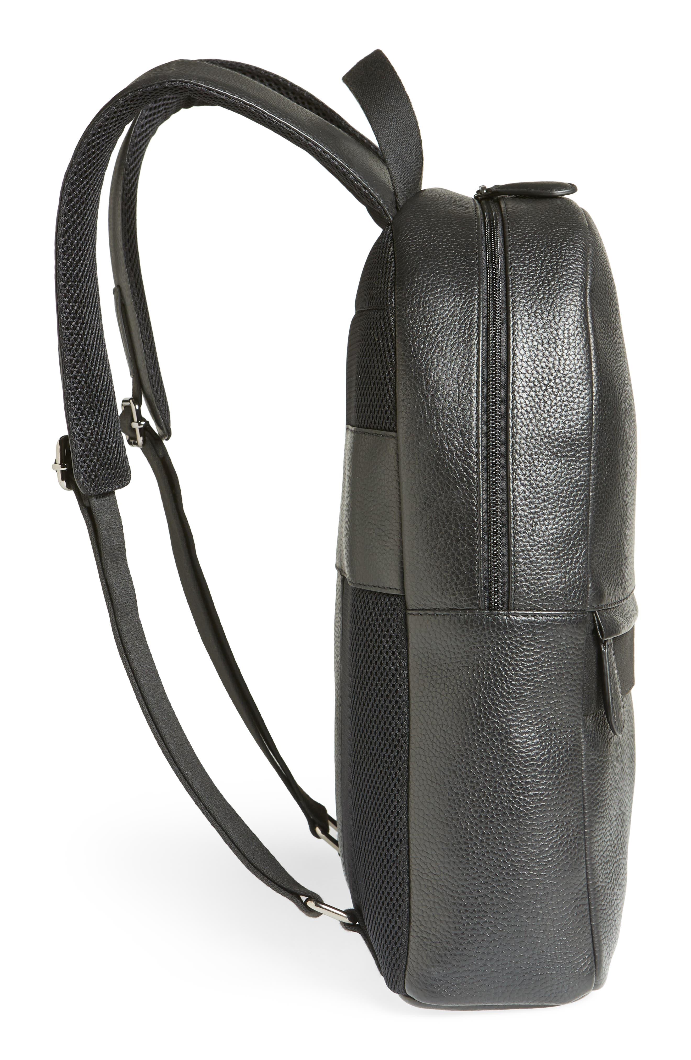Rickrak Leather Backpack,                             Alternate thumbnail 5, color,                             BLACK