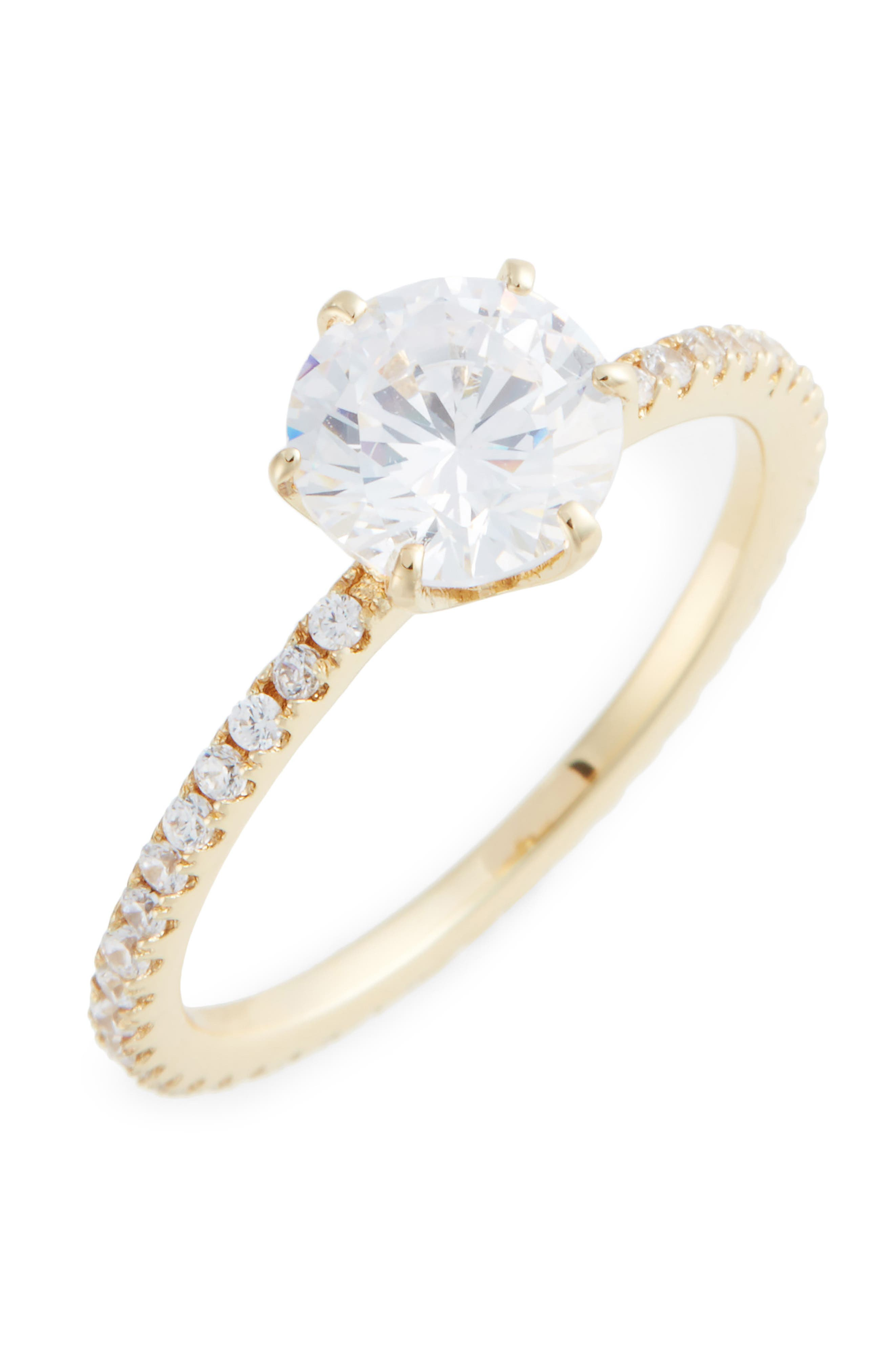Solitaire Pavé Cocktail Ring,                             Main thumbnail 1, color,                             710