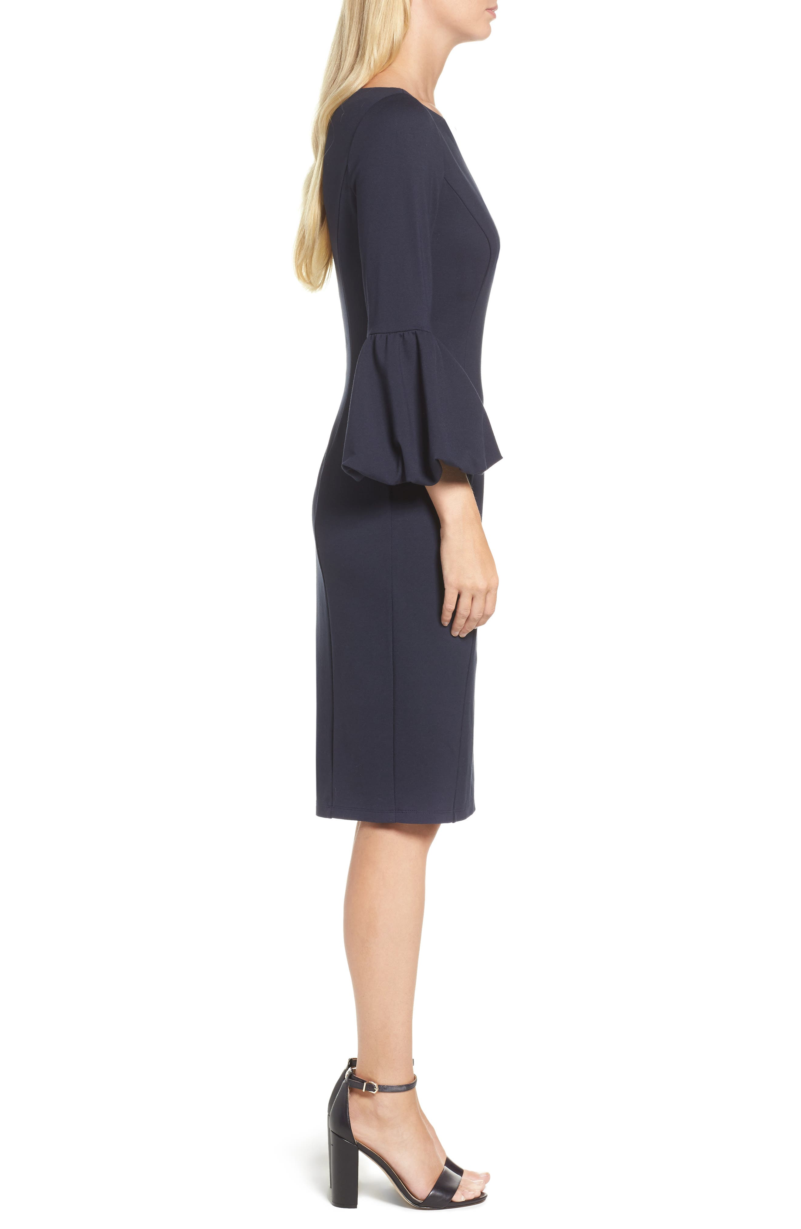 Ruffle Sleeve Sheath Dress,                             Alternate thumbnail 3, color,                             NAVY