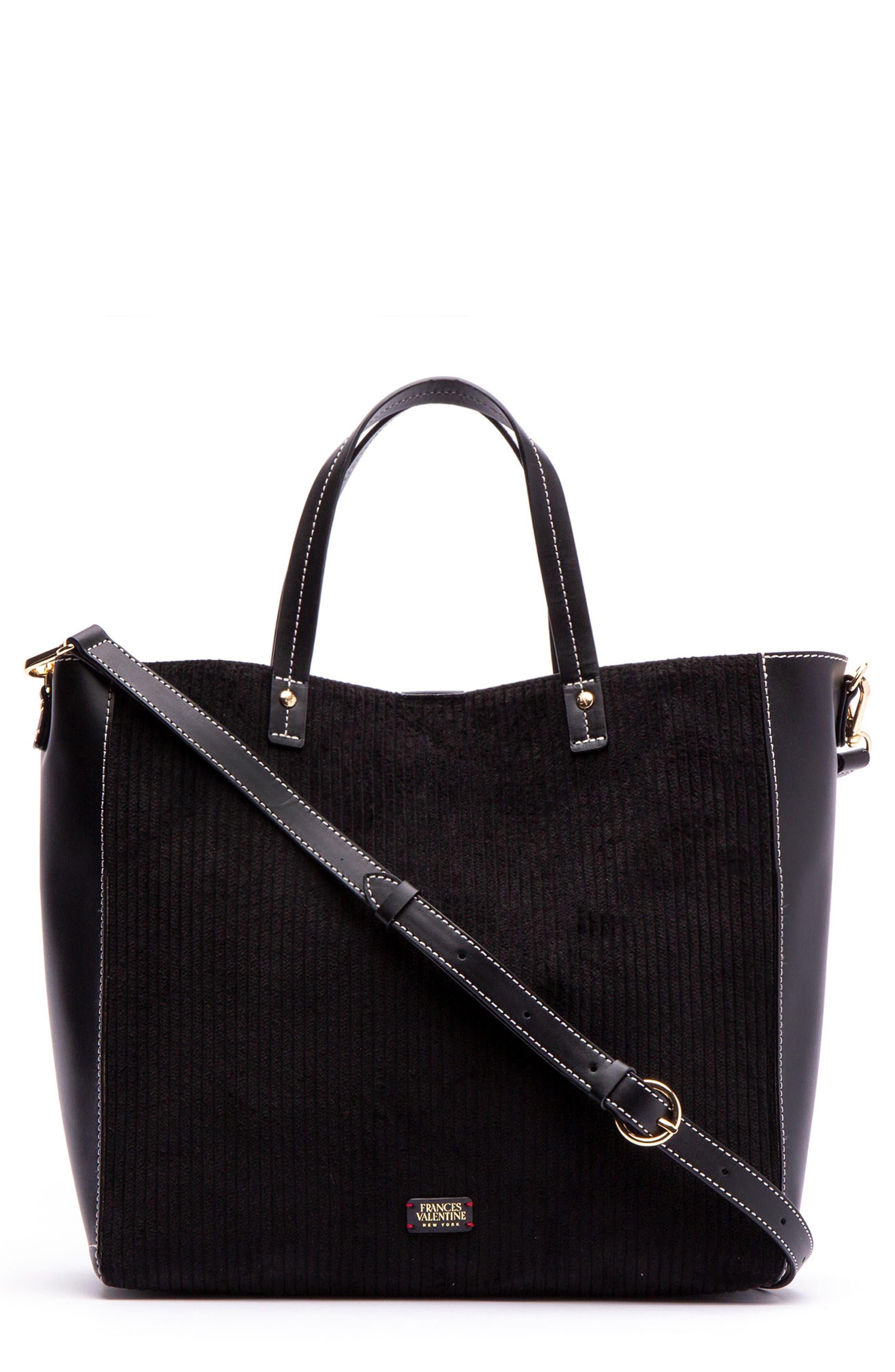 Large Margaret Corduroy & Leather Tote,                         Main,                         color, BLACK