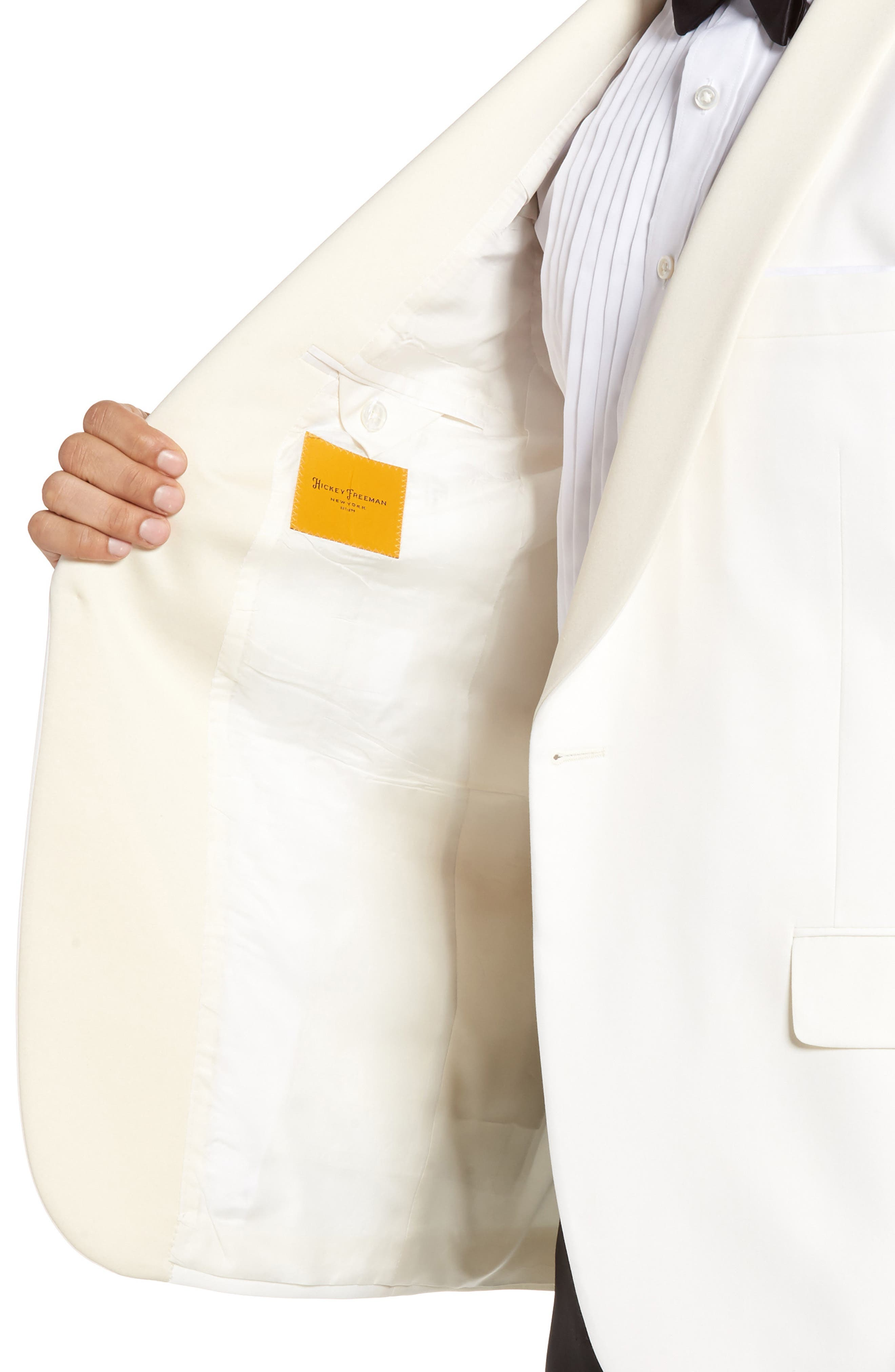 Classic B Fit Wool Dinner Jacket,                             Alternate thumbnail 4, color,                             IVORY