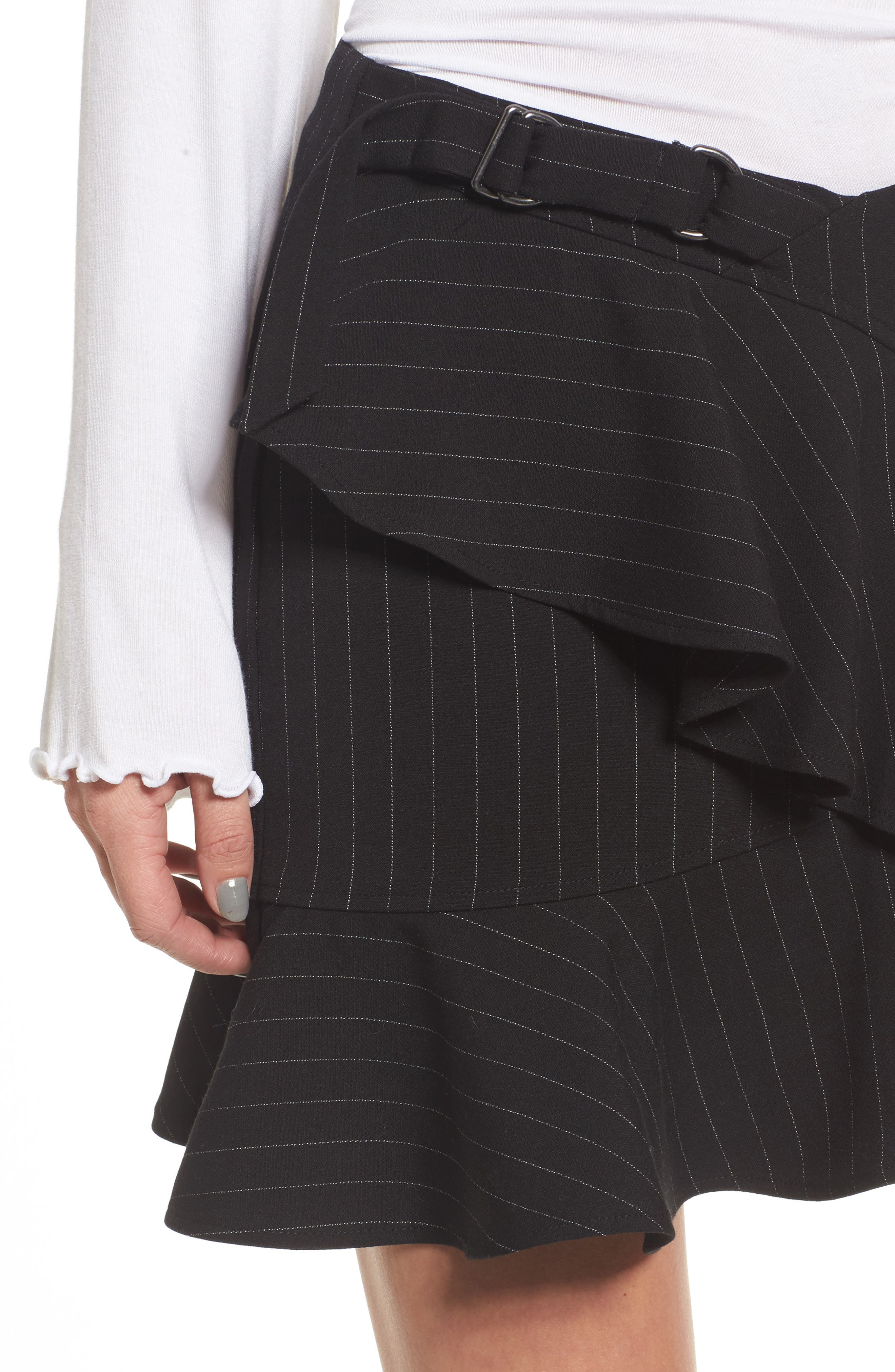 Dominic Asymmetrical Ruffle Skirt,                             Alternate thumbnail 4, color,                             001