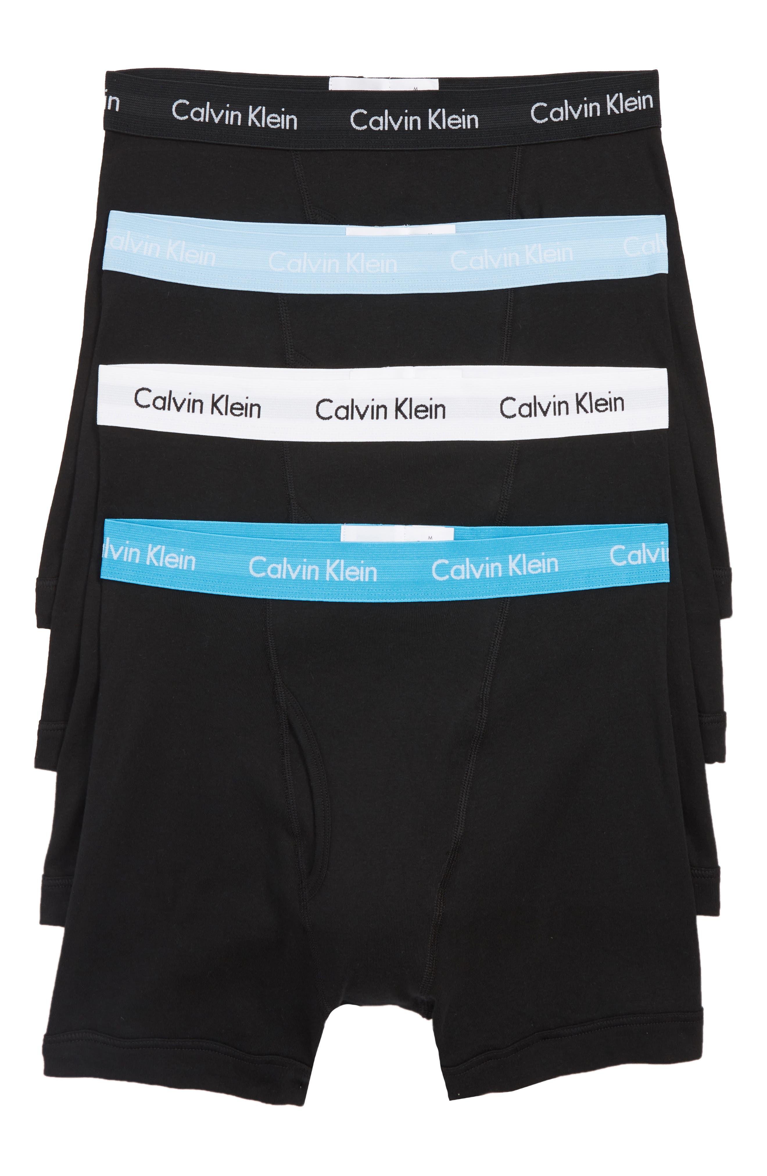 Classic 4-Pack Cotton Boxer Briefs,                             Main thumbnail 1, color,                             BLACK/ W/ GAZE/ BLUE MULTI WB