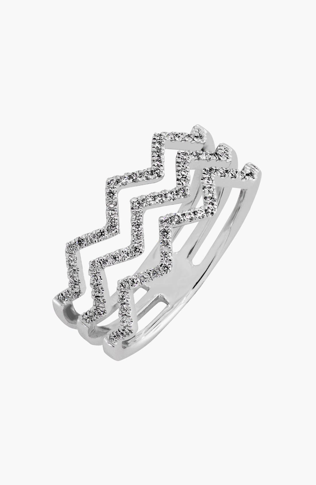 Prism 3-Row Diamond Ring,                         Main,                         color, WHITE GOLD