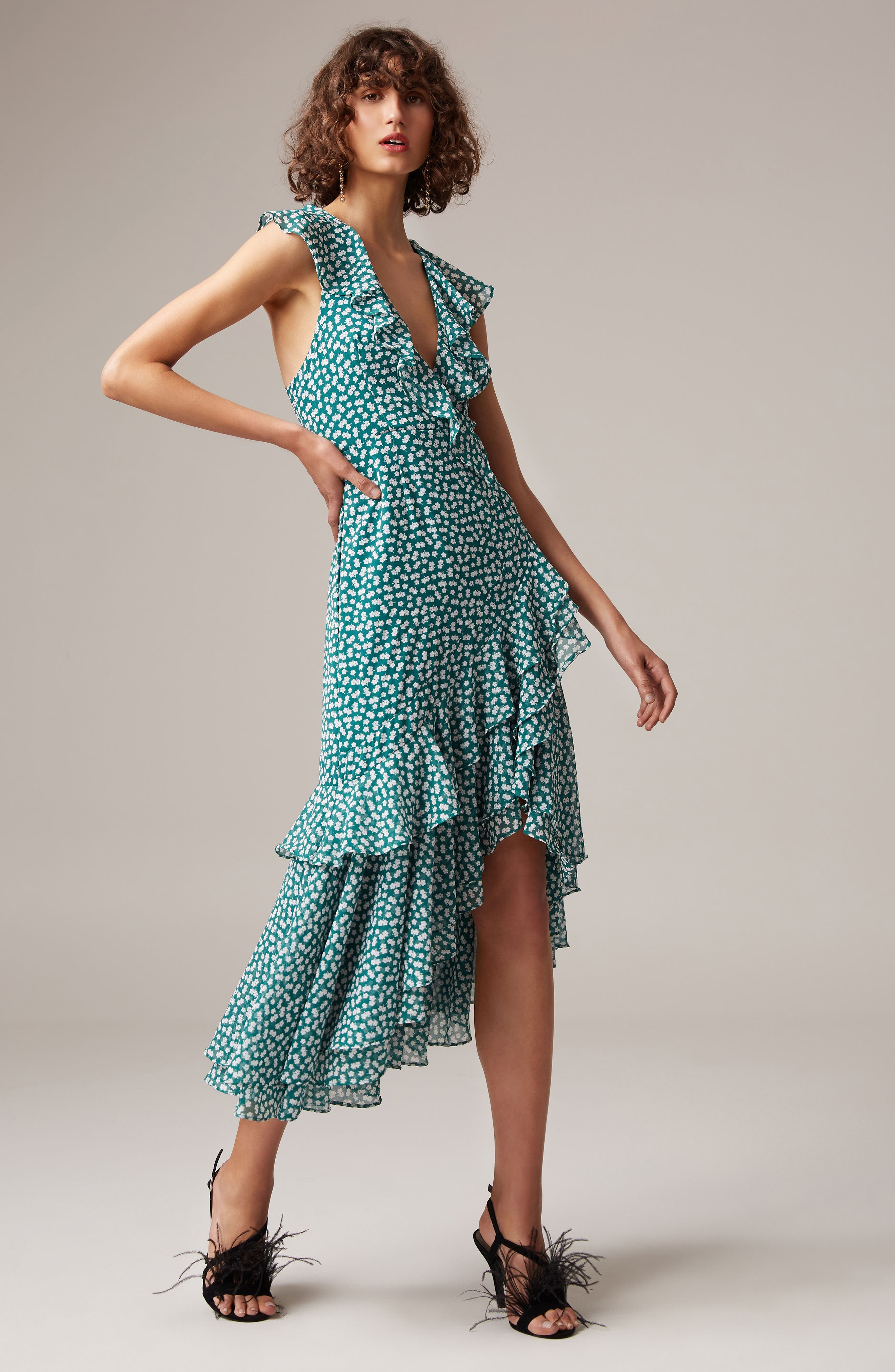 Be About You Ruffle Midi Dress,                             Alternate thumbnail 7, color,                             303