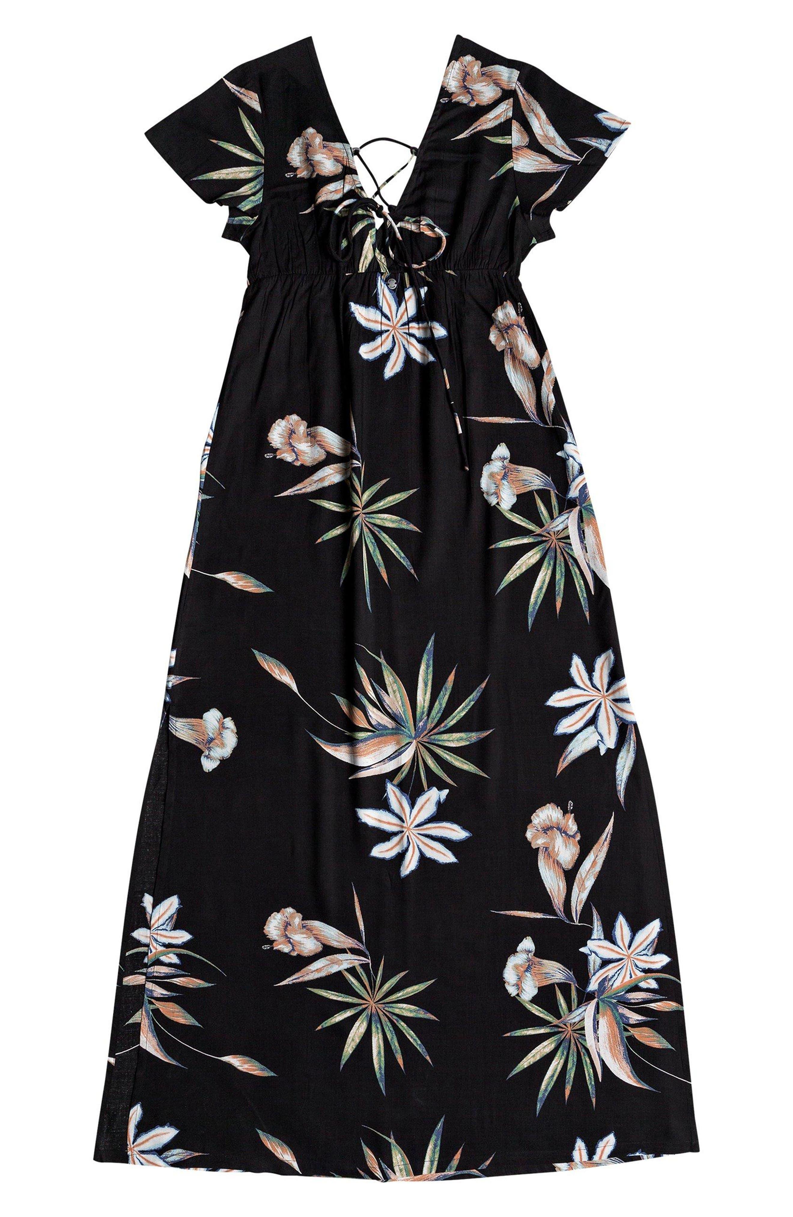 Lotus Heart Midi Dress,                             Alternate thumbnail 7, color,                             TRUE BLACK NIGHTLIGHTS