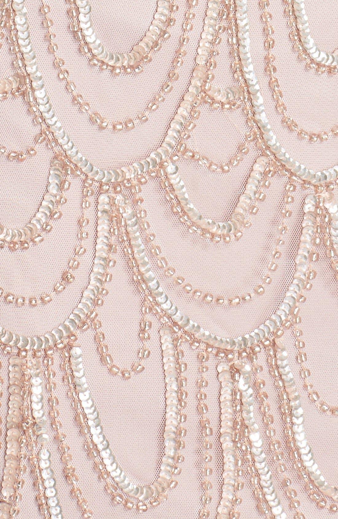 Embellished Mesh Sheath Dress,                             Alternate thumbnail 100, color,