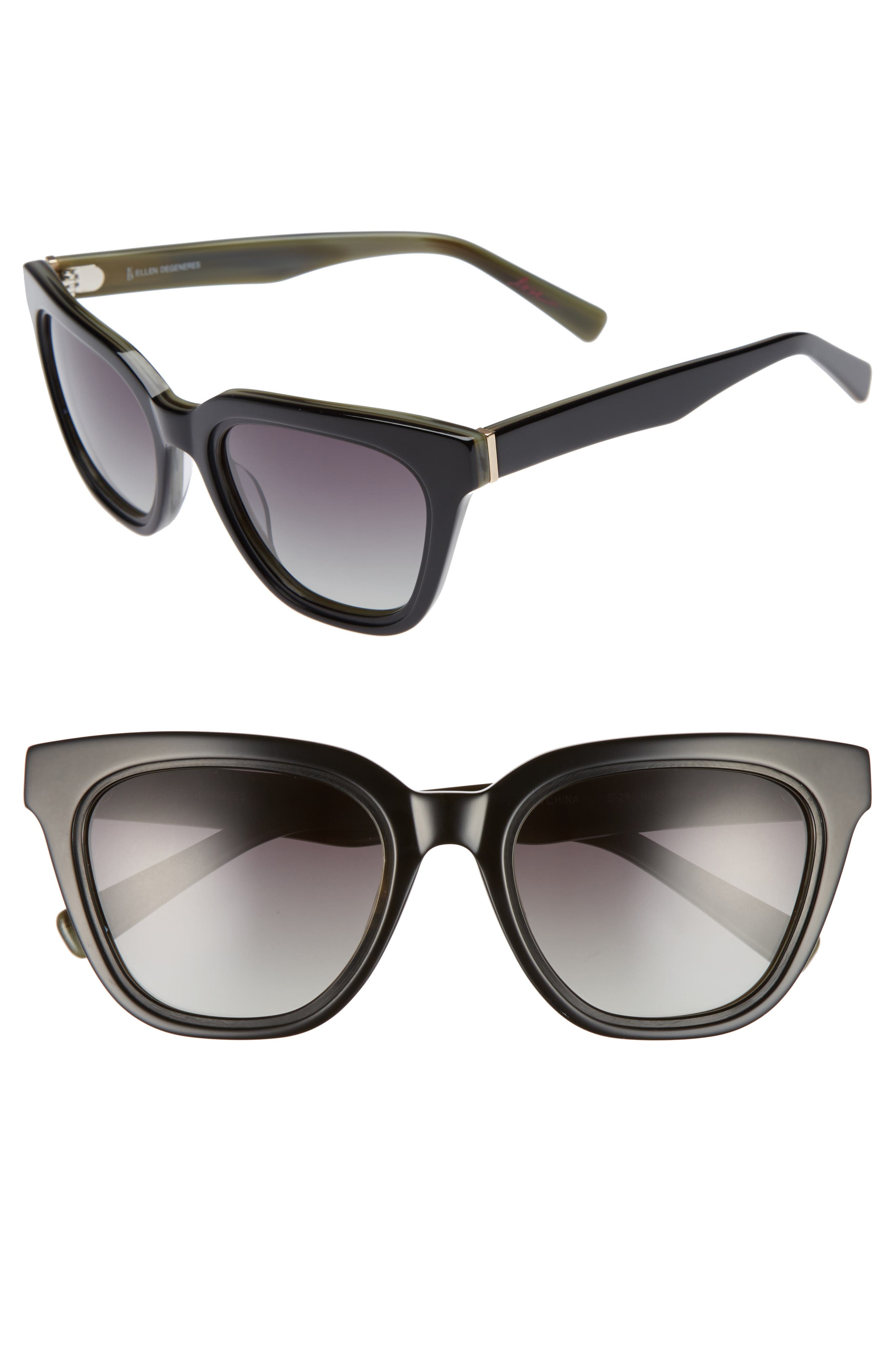 54mm Rectangular Cat Eye Sunglasses,                         Main,                         color, 001