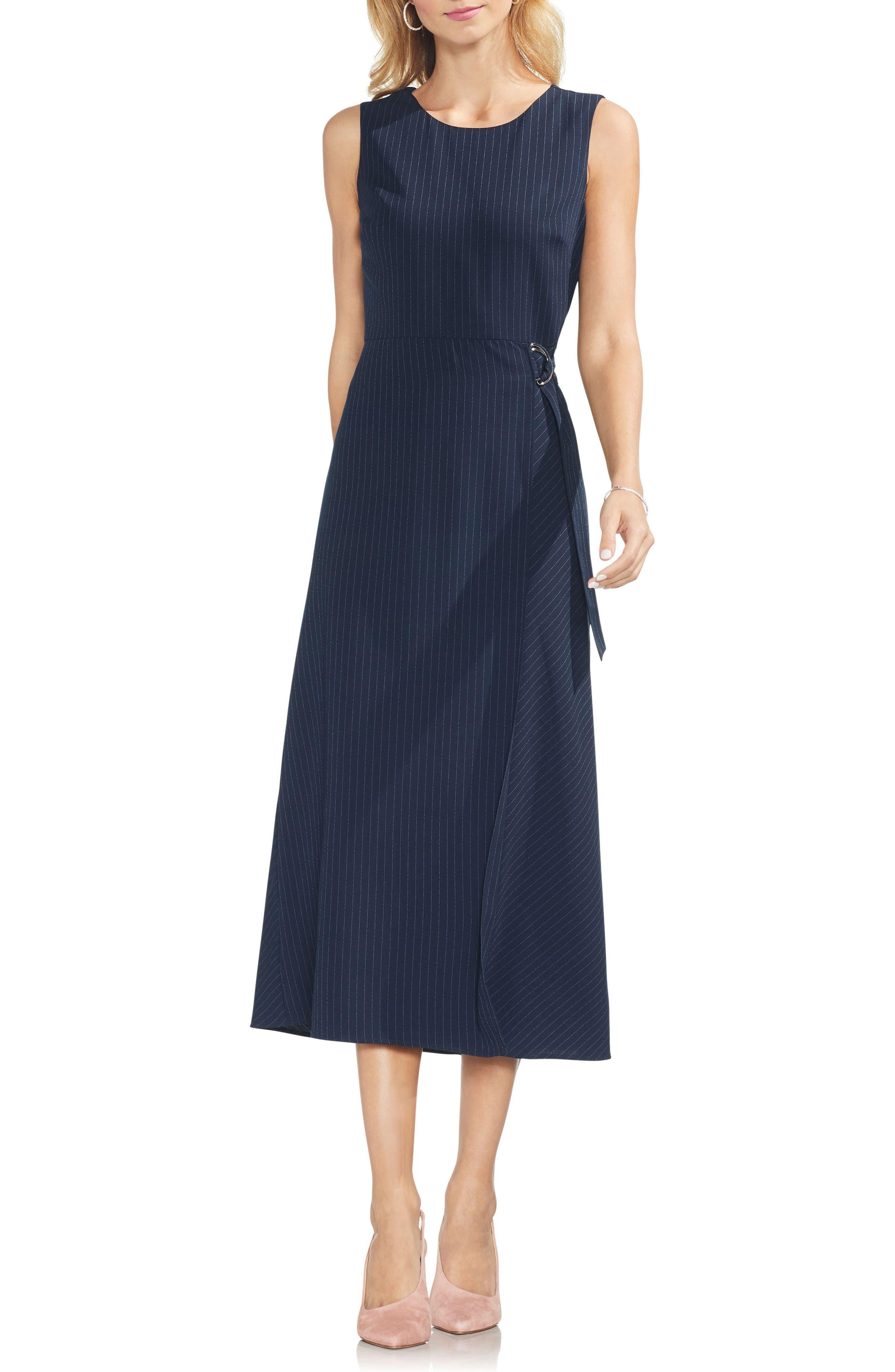 Soft Pinstripe Sleeveless Dress,                             Main thumbnail 1, color,                             407