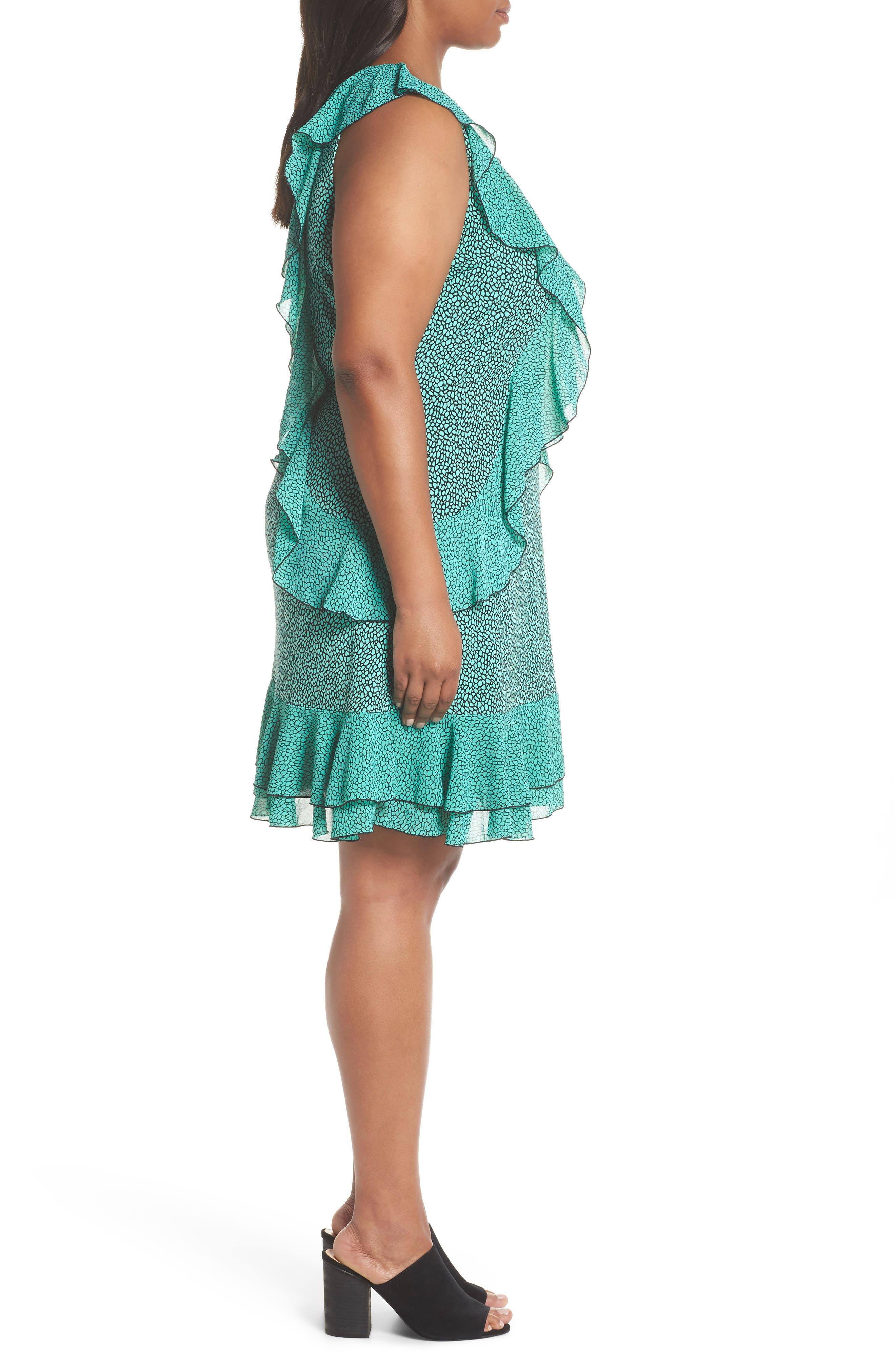 Cascade Ruffle Dress,                             Alternate thumbnail 3, color,                             AQUA/ BLACK