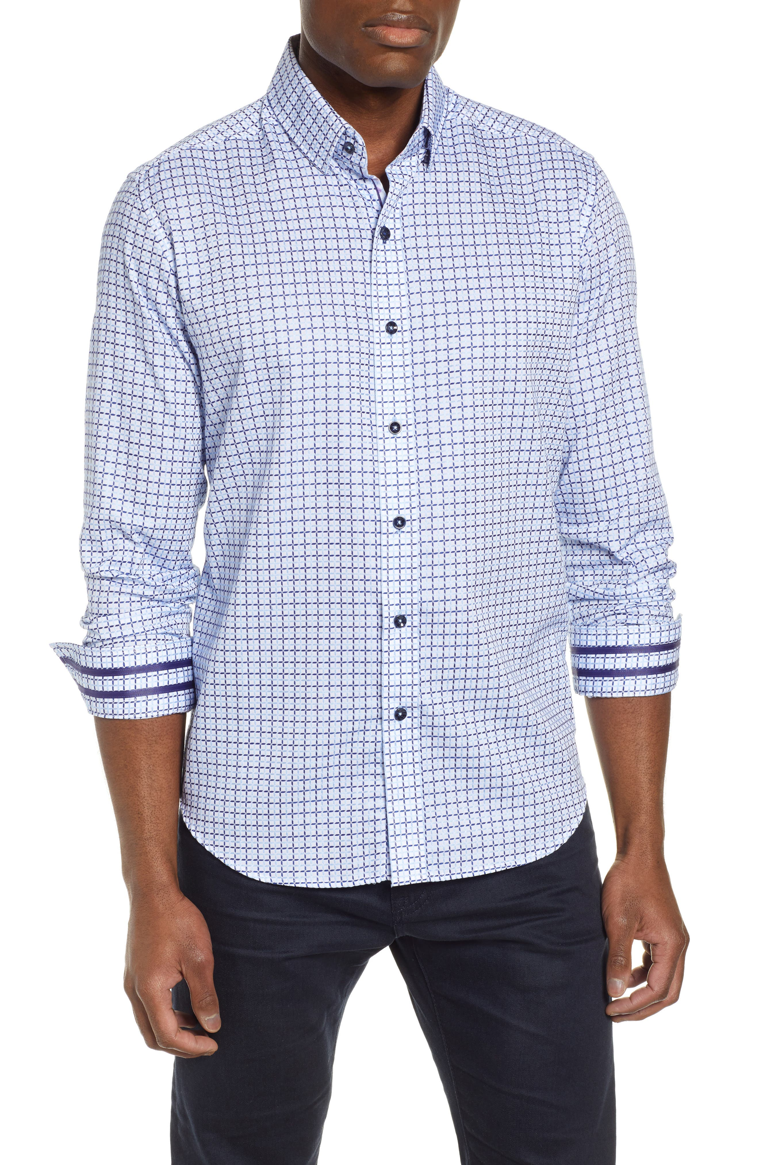 ROBERT GRAHAM Axton Tailored Fit Check Sport Shirt, Main, color, BLUE