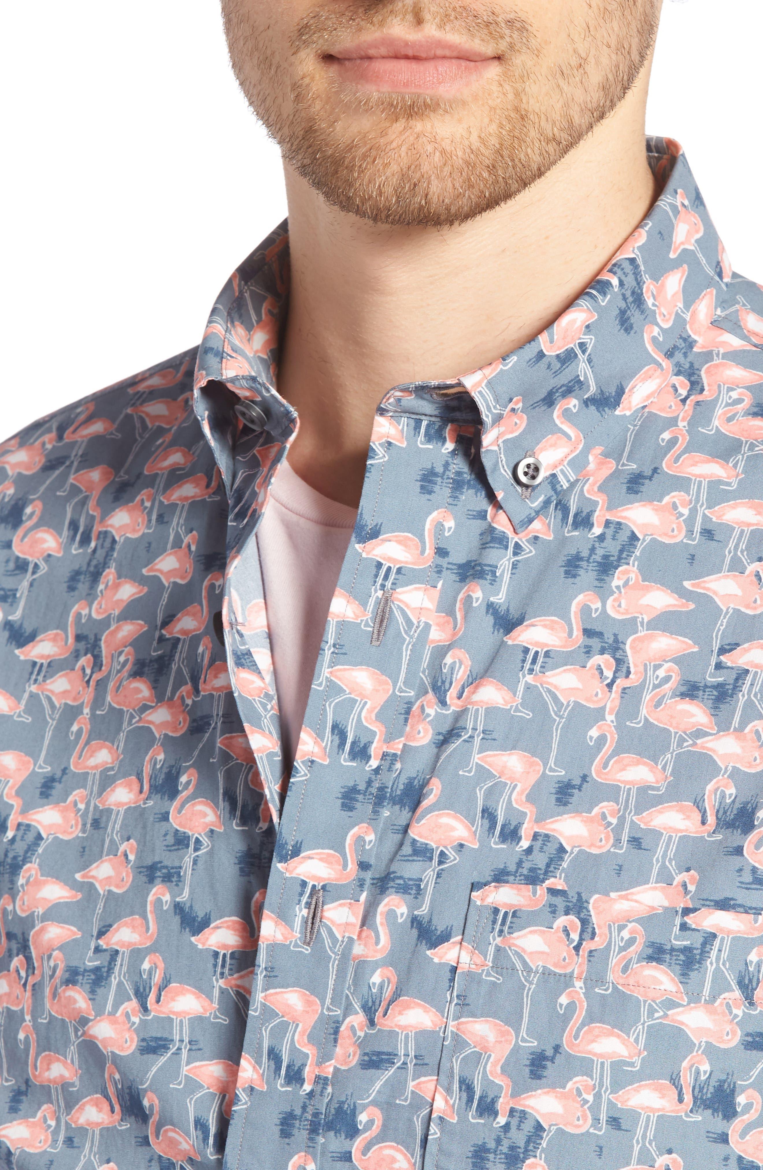 Trim Fit Print Short Sleeve Sport Shirt,                             Alternate thumbnail 4, color,                             GREY GRISALLE PINK FLAMINGOS