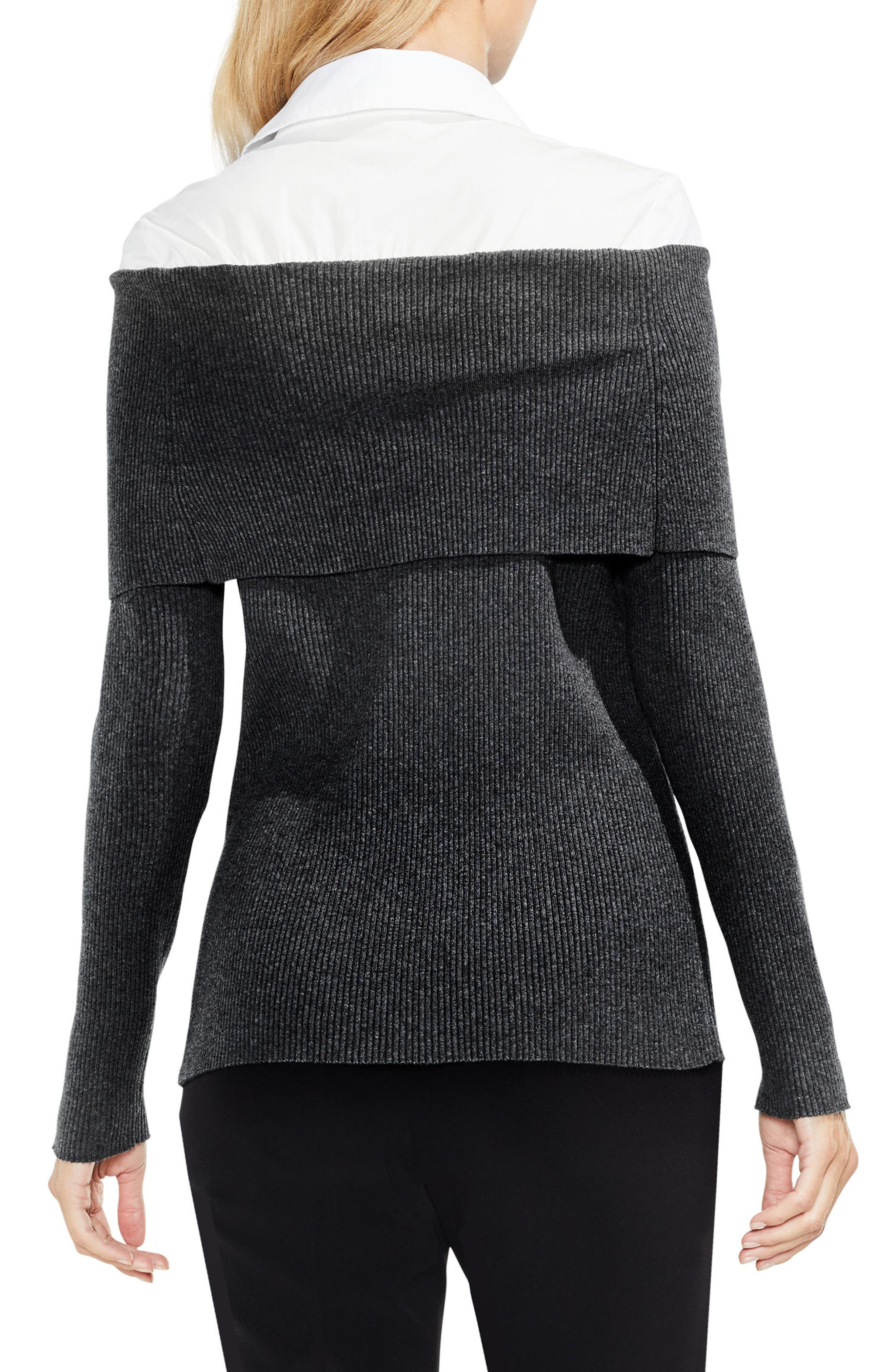 Off the Shoulder Mix Media Sweater,                             Alternate thumbnail 4, color,