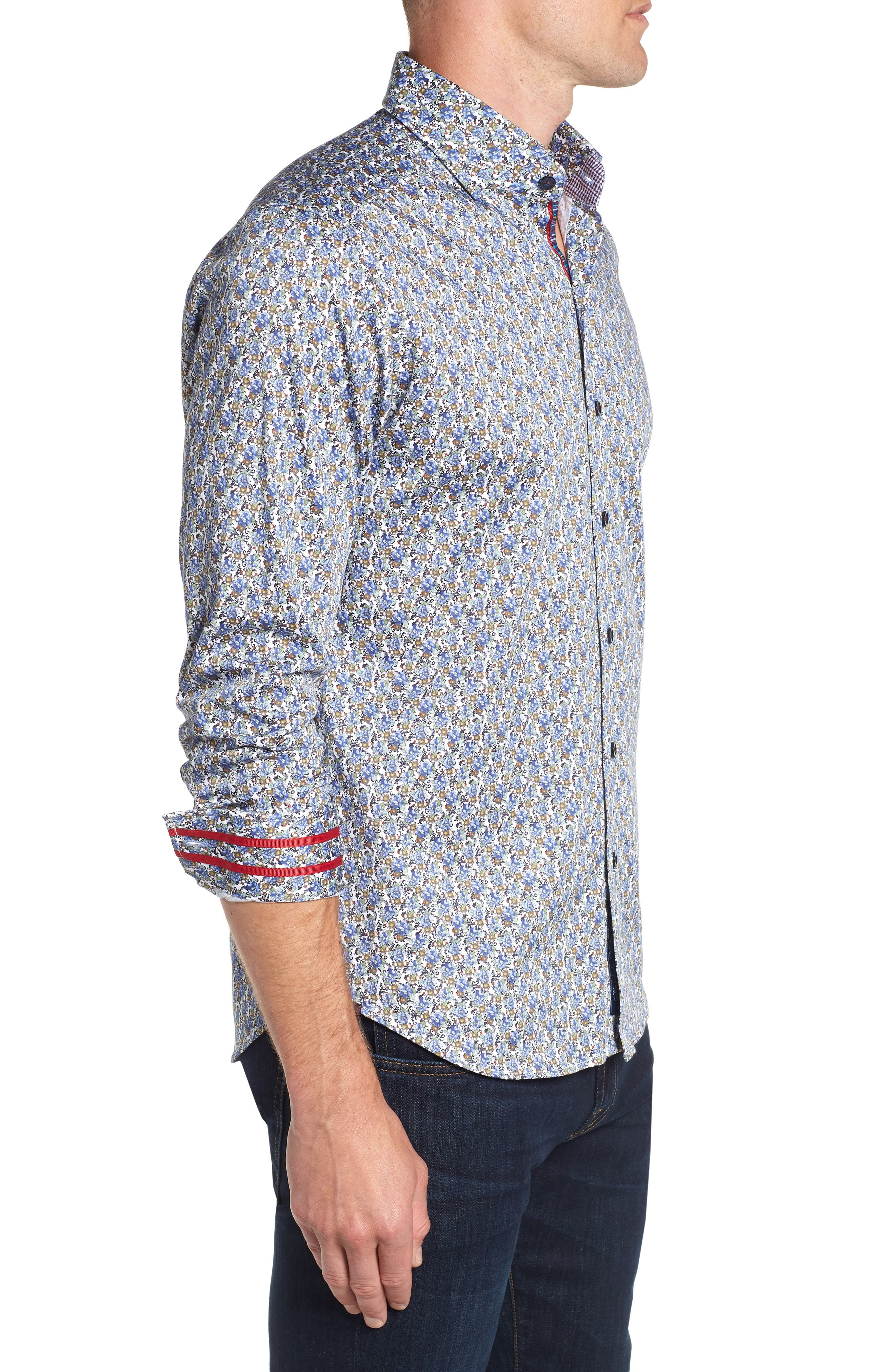 Richardson Tailored Fit Print Sport Shirt,                             Alternate thumbnail 4, color,                             400