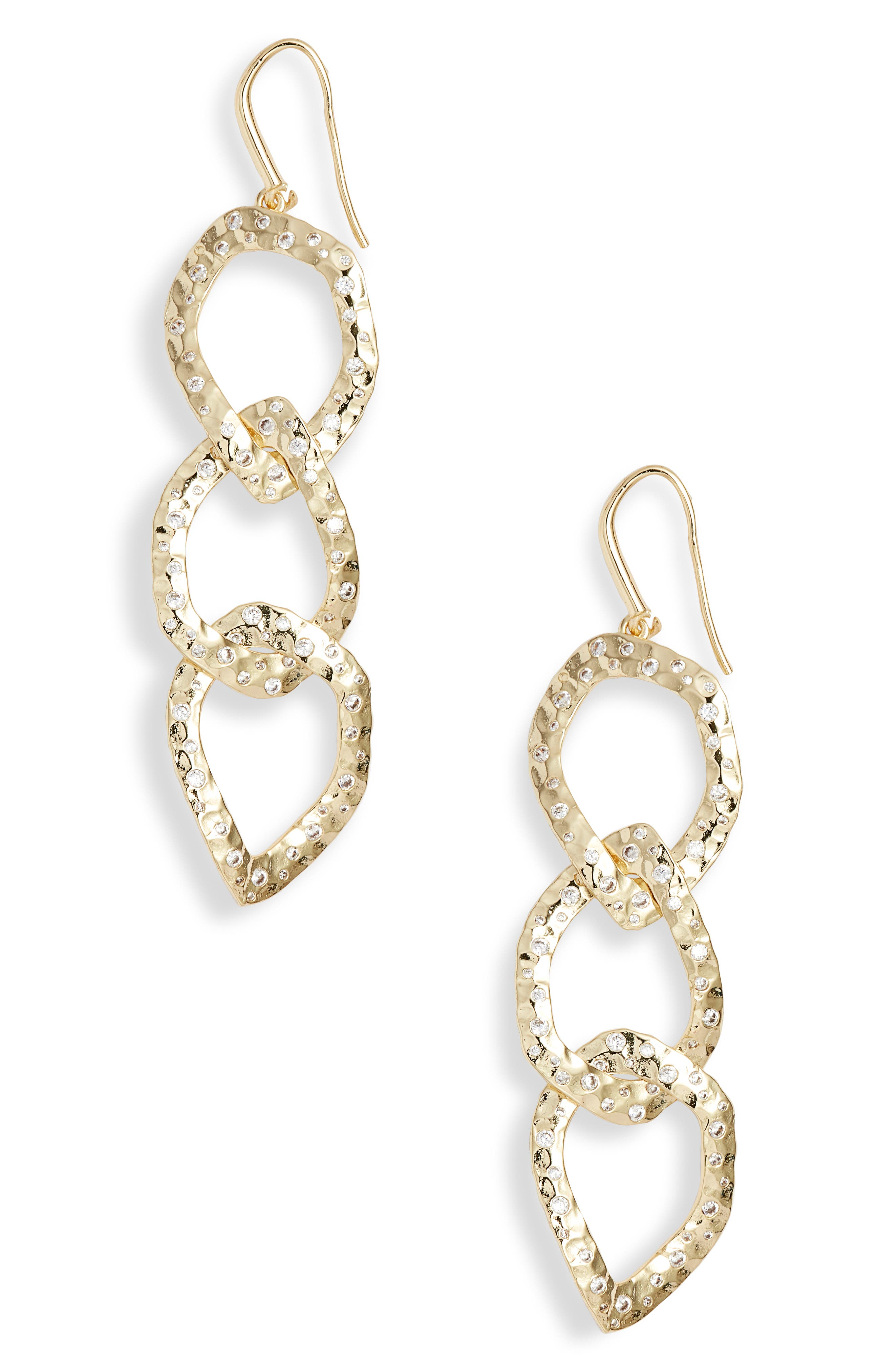 MELINDA MARIA Chain Link Linear Drop Earrings in Gold/ White Cz