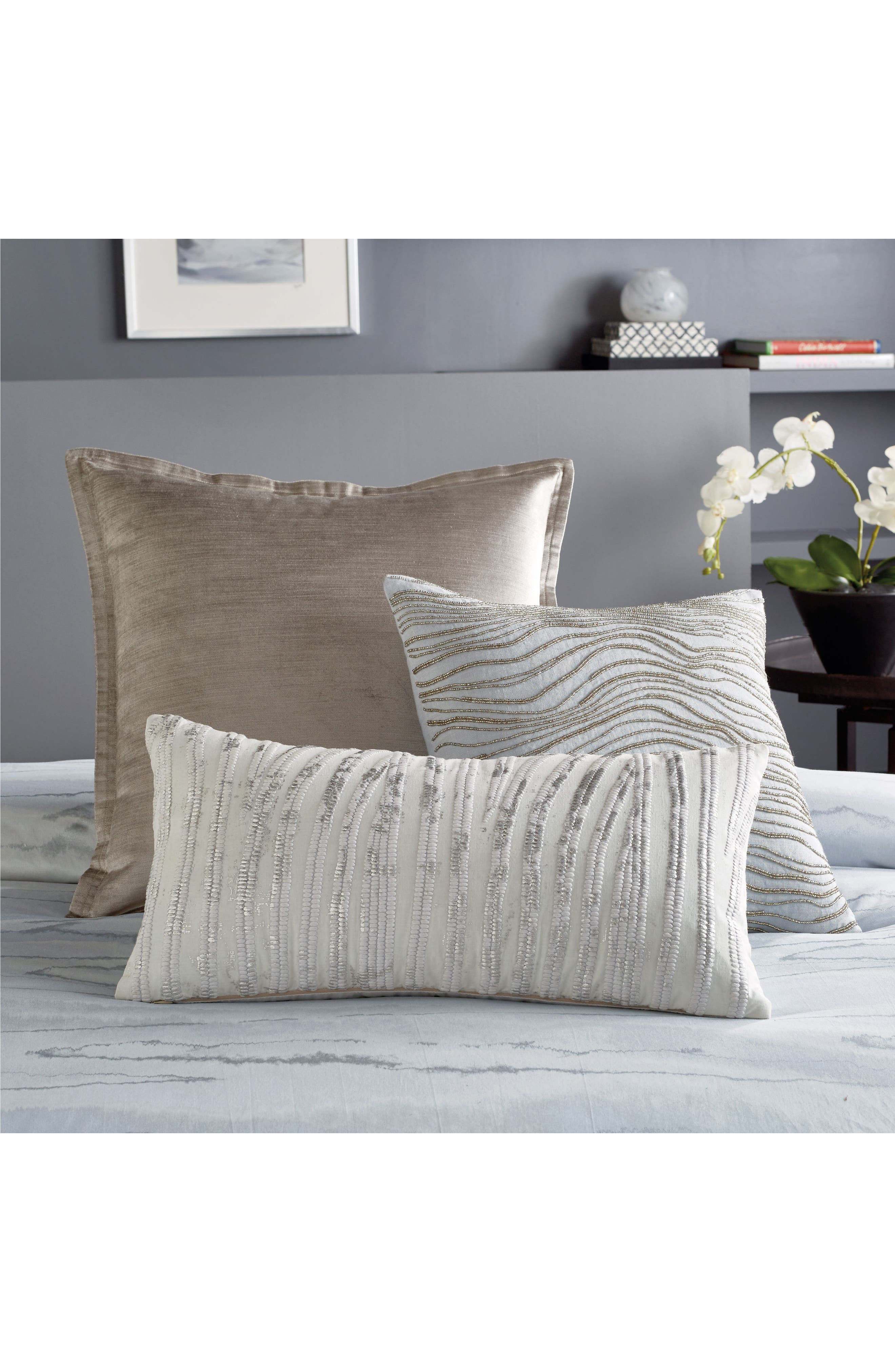 Collection Velvet Accent Pillow,                             Alternate thumbnail 2, color,                             SILVER