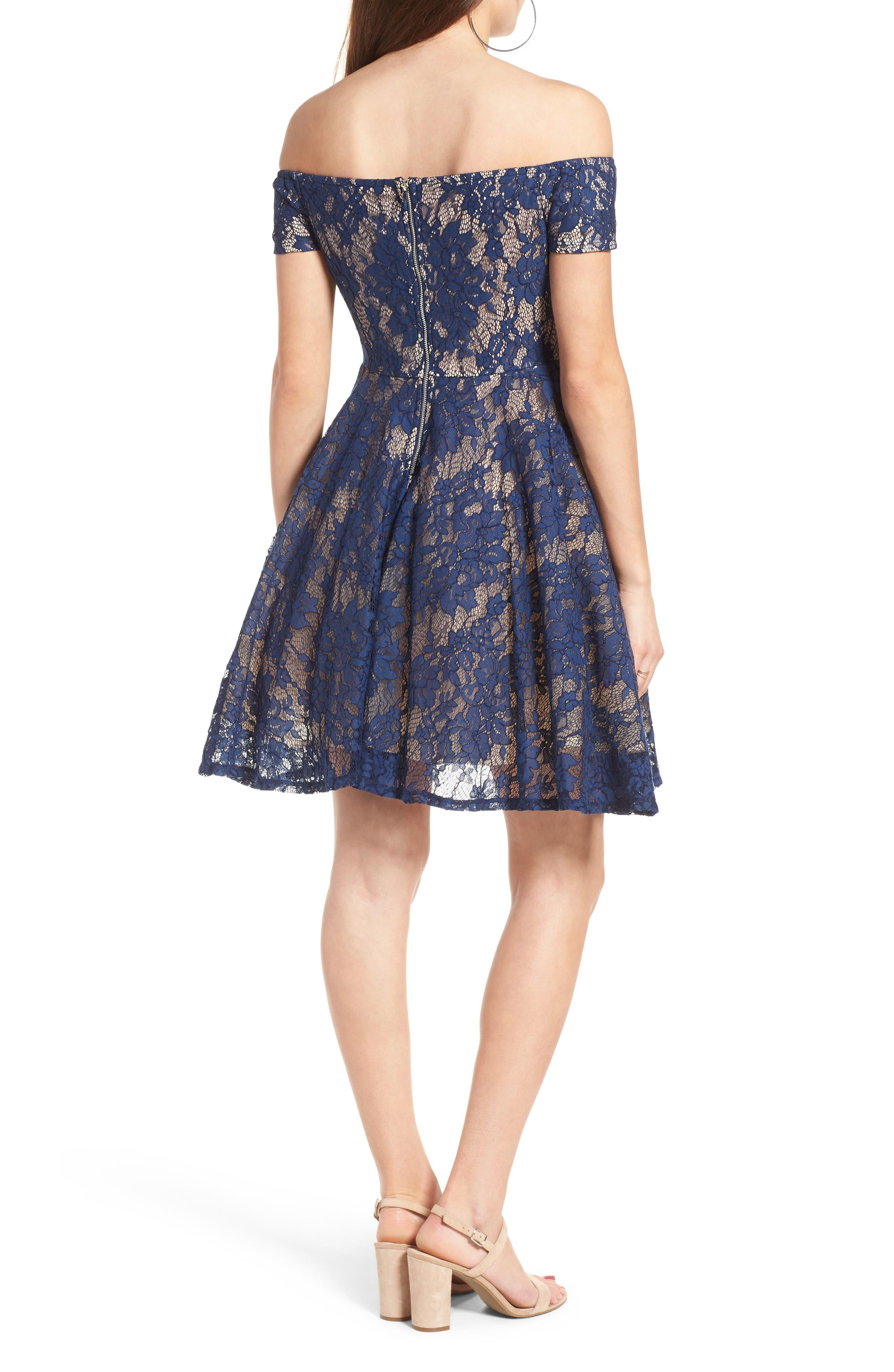 Lace Off the Shoulder Fit & Flare Dress,                             Alternate thumbnail 11, color,