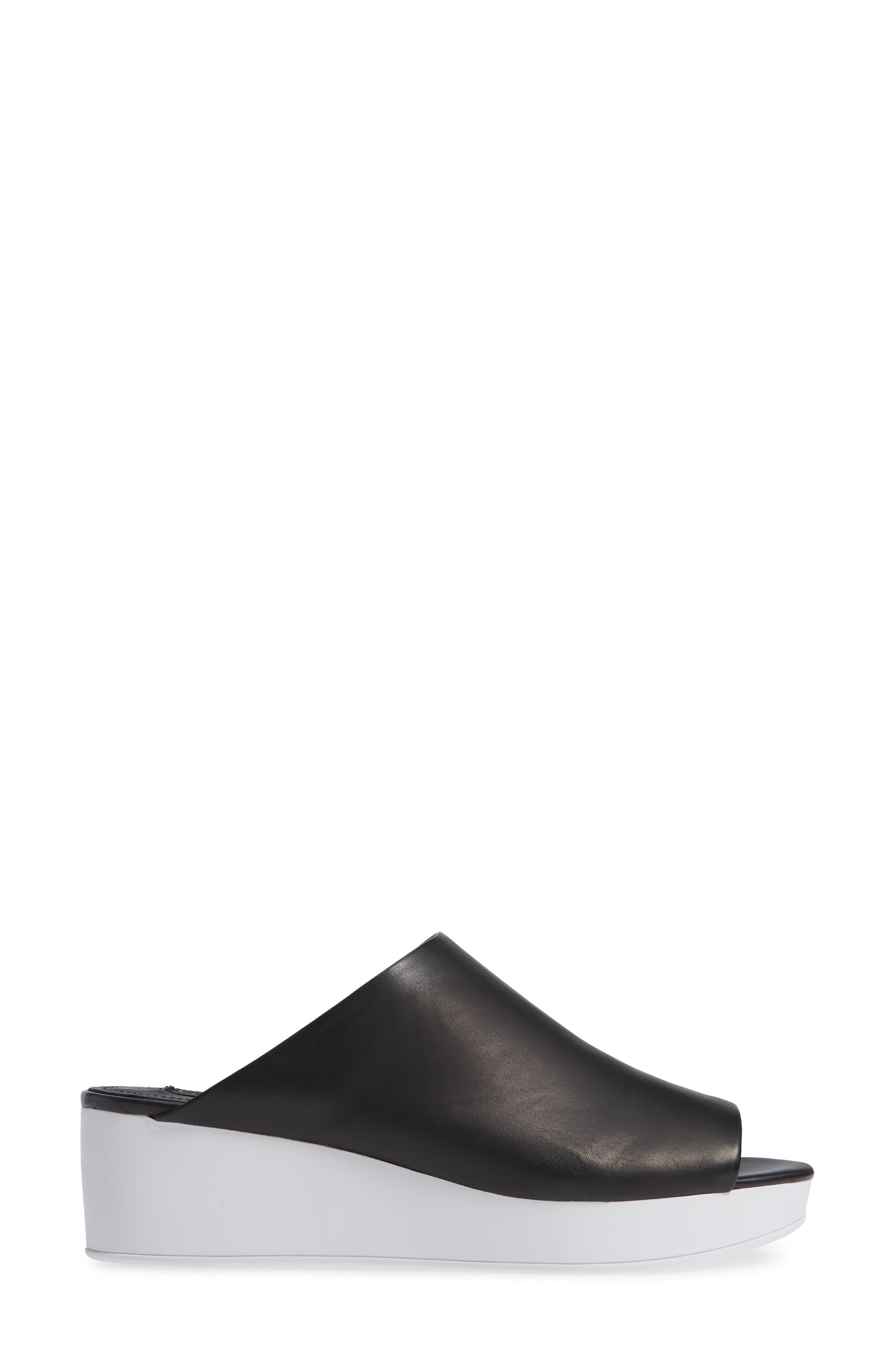 Donna Karan Reisley Wedge Slide Sandal,                             Alternate thumbnail 3, color,                             BLACK LEATHER