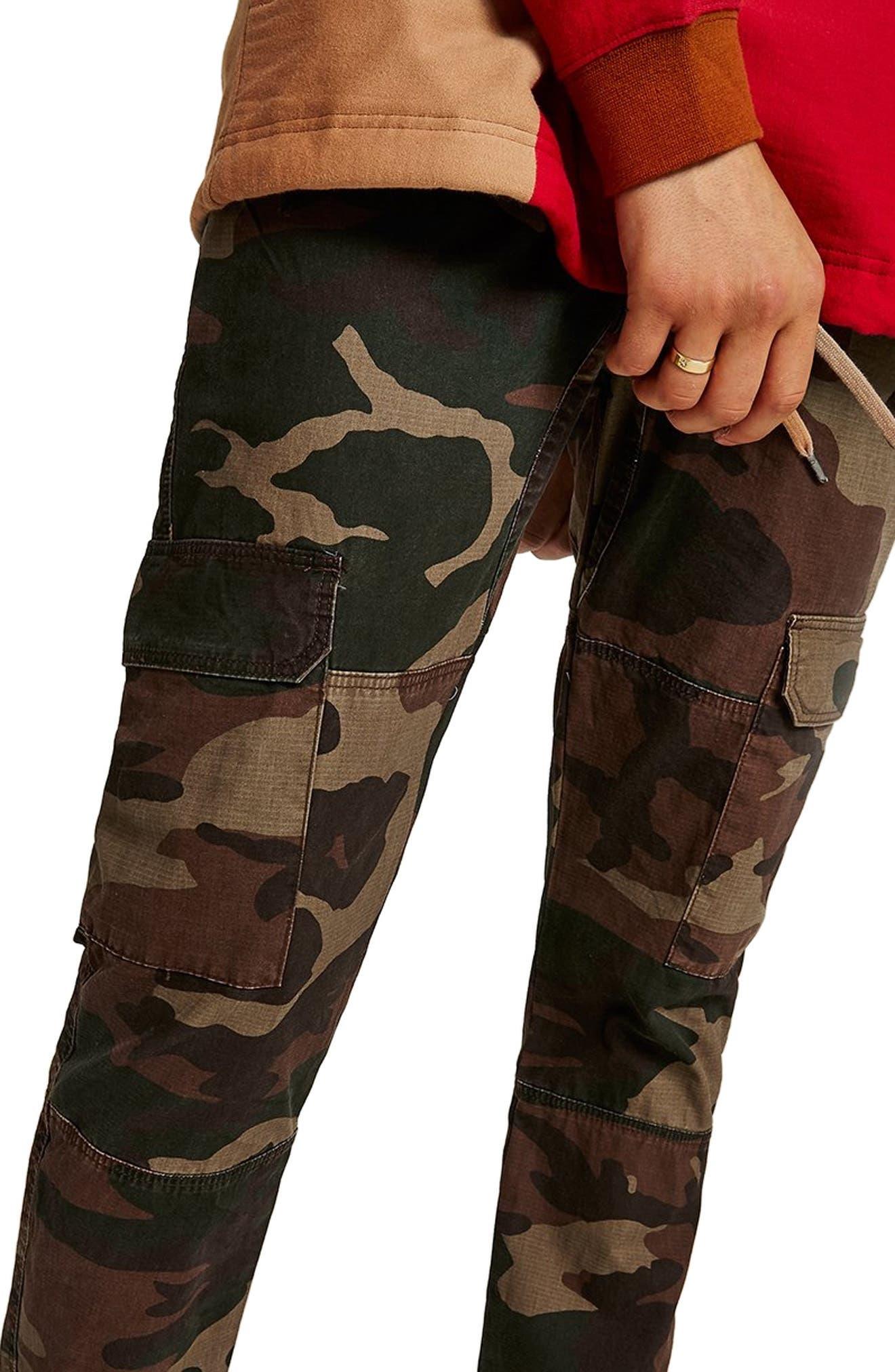 Skinny Fit Camo Cargo Pants,                             Alternate thumbnail 3, color,                             GREEN MULTI