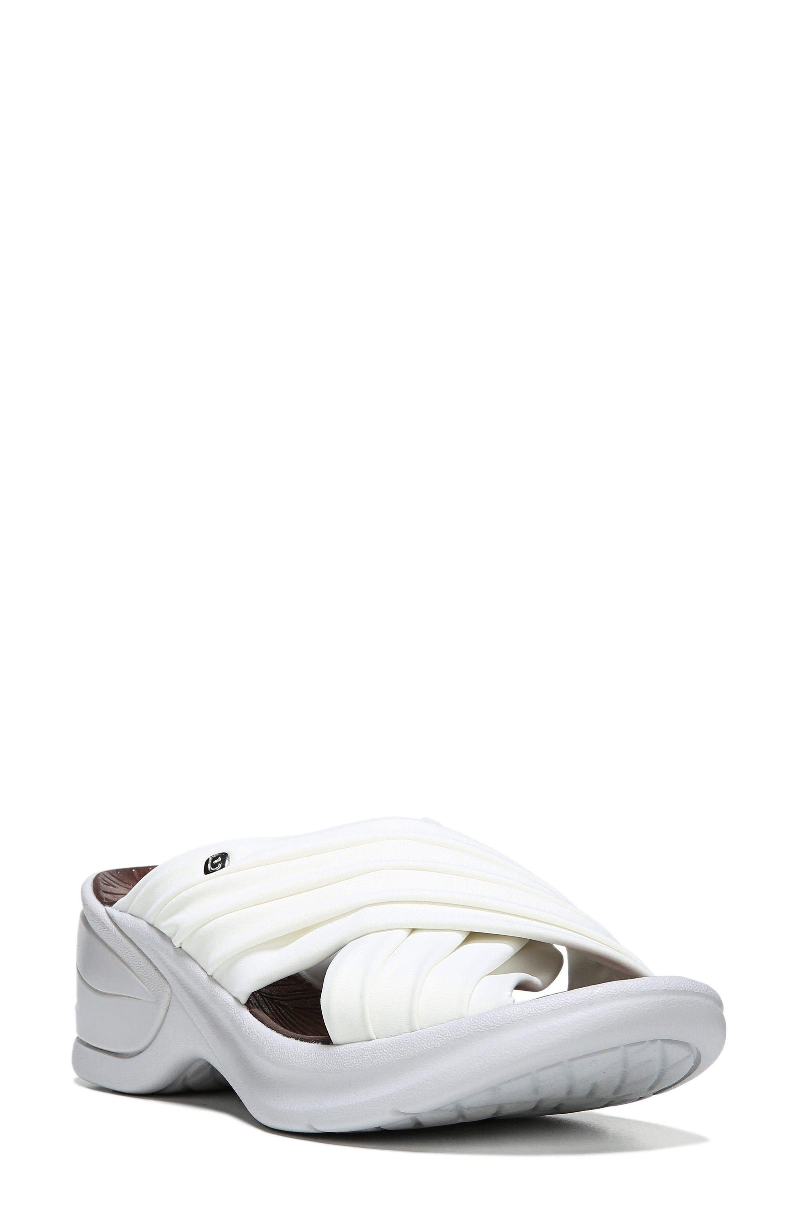 Knockout Slide Sandal,                         Main,                         color, WHITE FABRIC