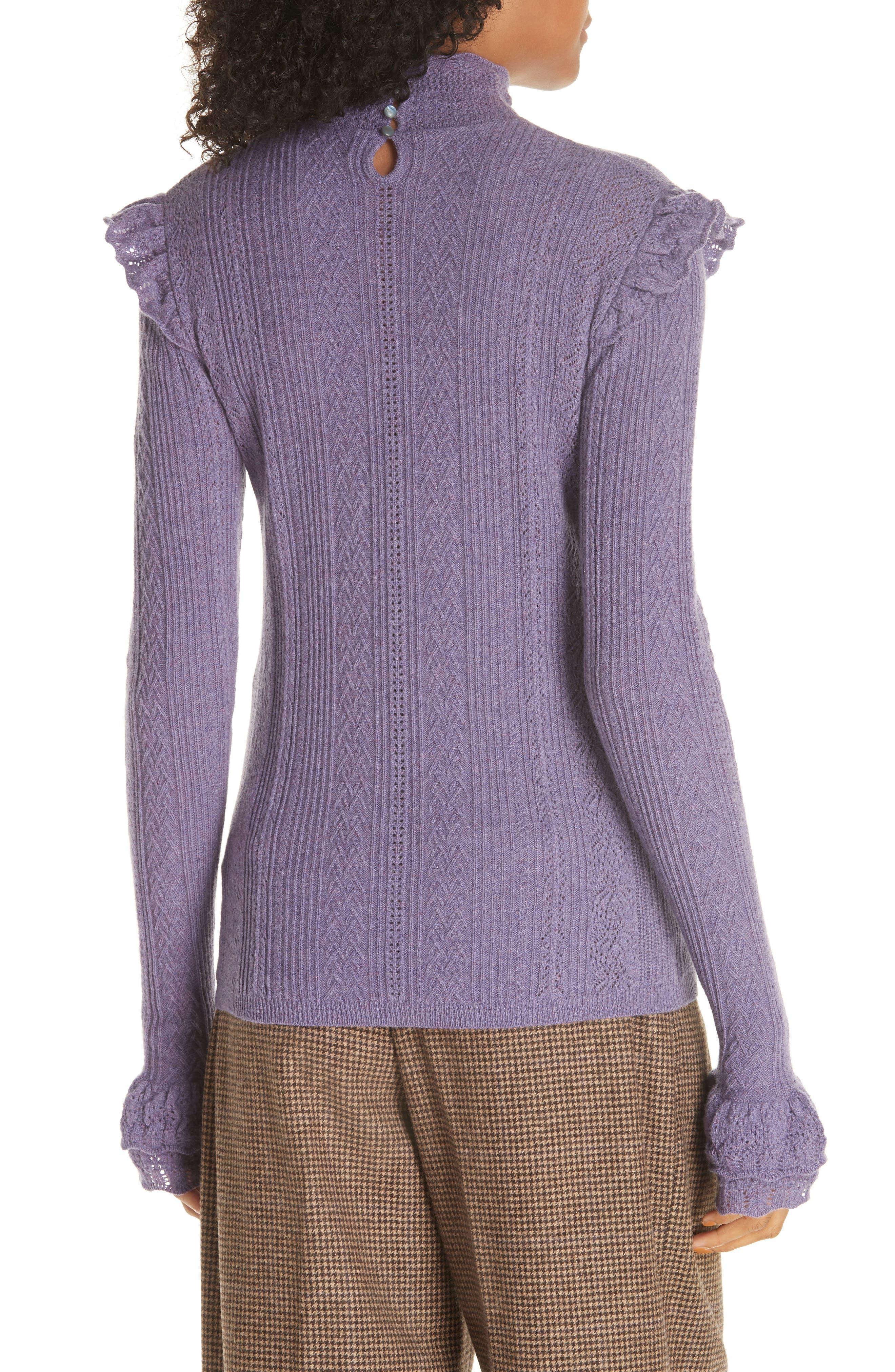 POLO RALPH LAUREN,                             Ruffle Detail Pointelle Sweater,                             Alternate thumbnail 2, color,                             500