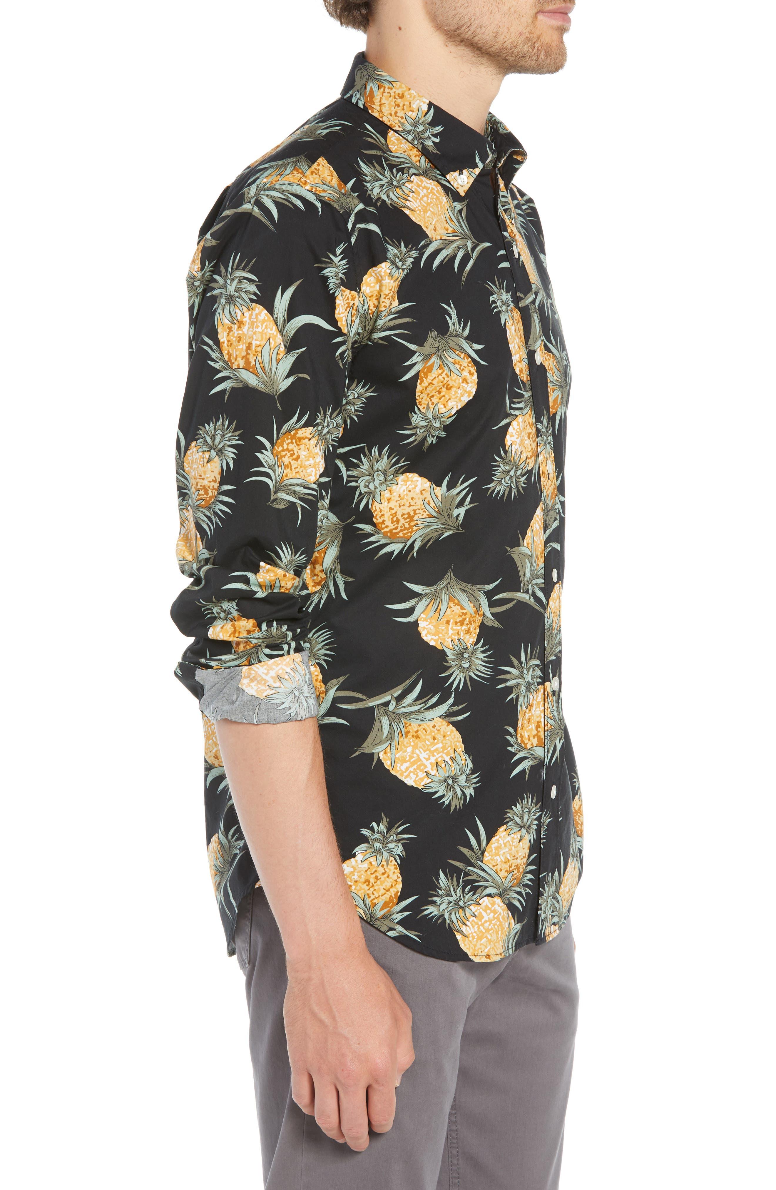 Summerweight Slim Fit Pineapple Print Sport Shirt,                             Alternate thumbnail 4, color,                             PINEAPPLES - JET BLACK