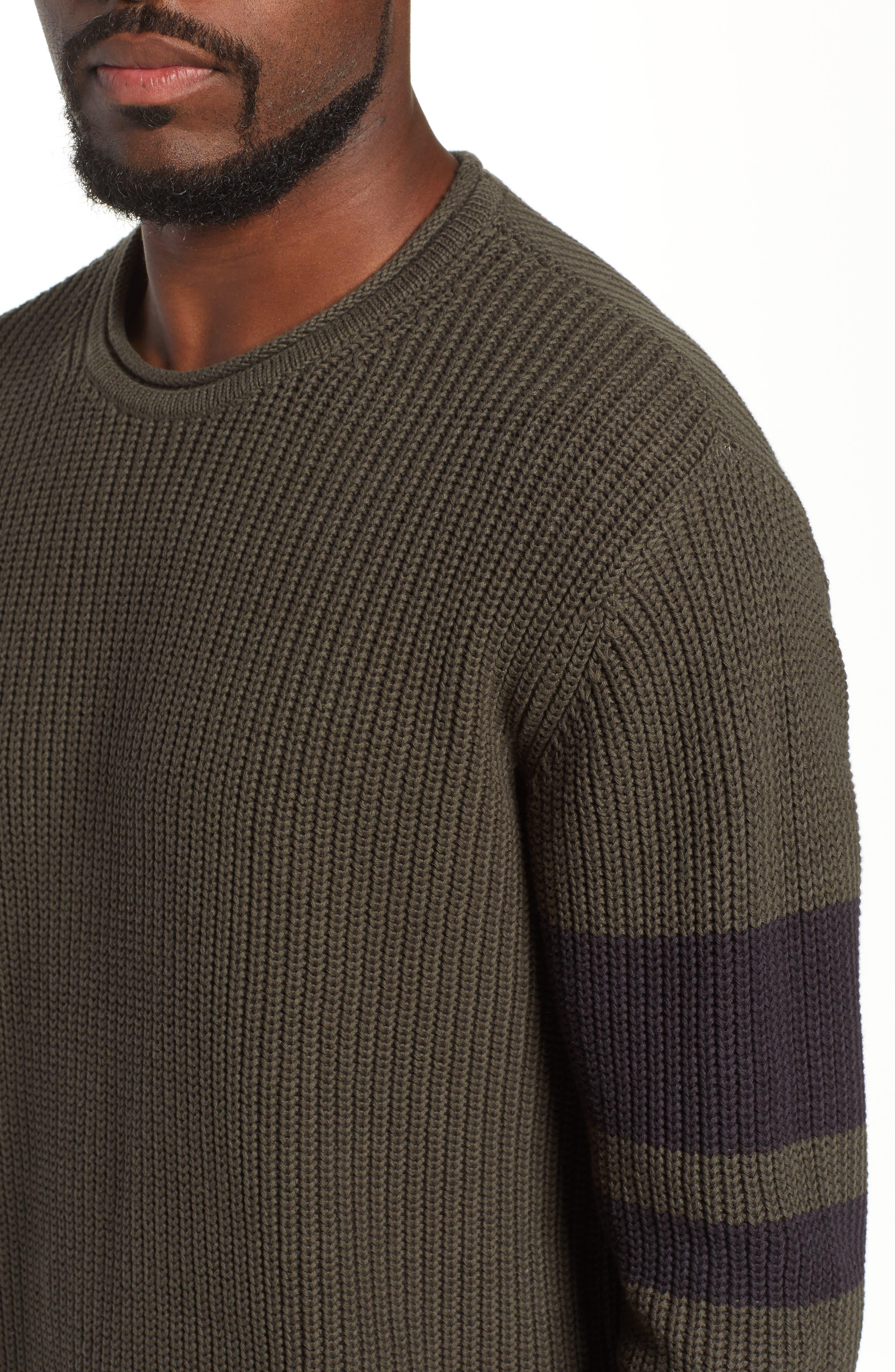 Jett Slim Fit Crewneck Sweater,                             Alternate thumbnail 4, color,                             OAK GROVE/ BLACK