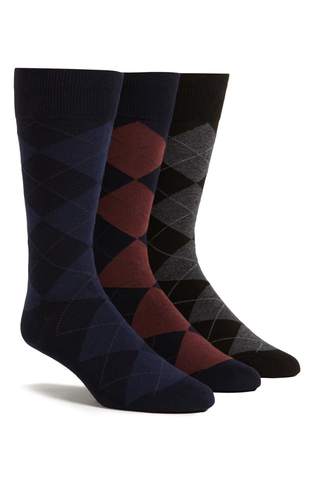 3-Pack Argyle Socks,                         Main,                         color, NVY BURG/ NVY BLU/ BLK CHR