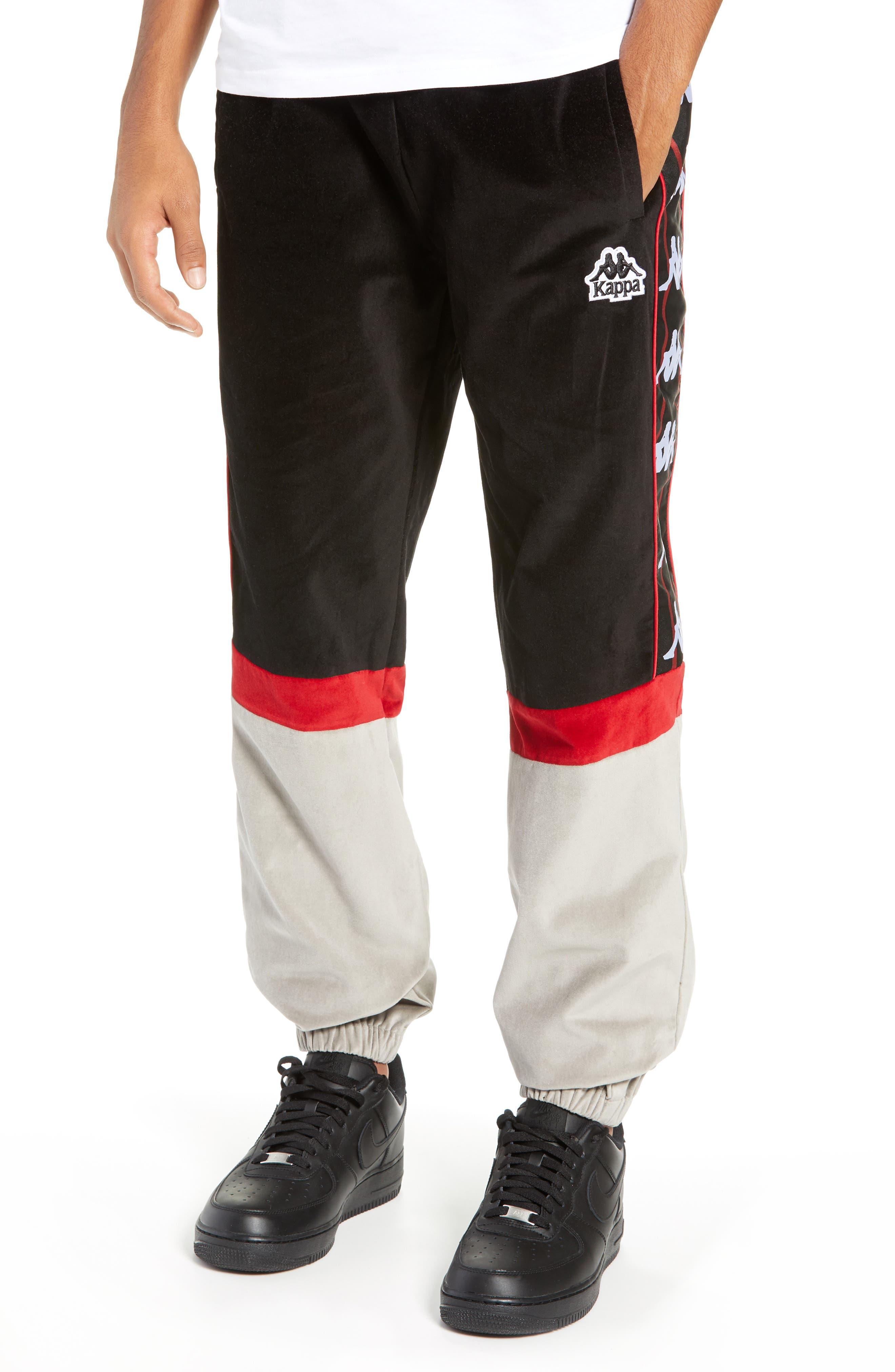 Authentic Serena Cotton Velour Track Pants,                             Main thumbnail 1, color,                             BLACK/ RED/ GREY