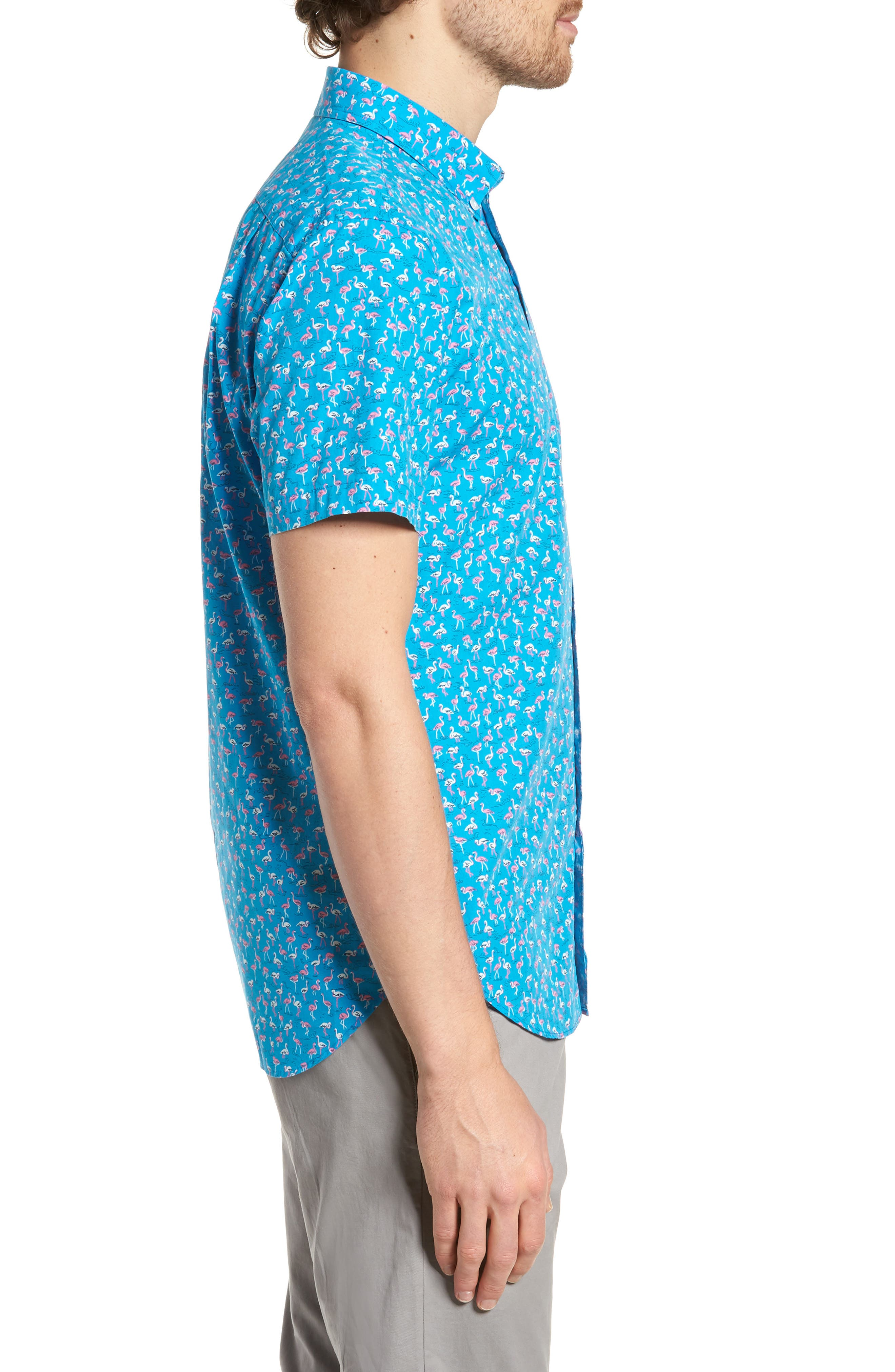 Slim Fit Print Short Sleeve Sport Shirt,                             Alternate thumbnail 3, color,