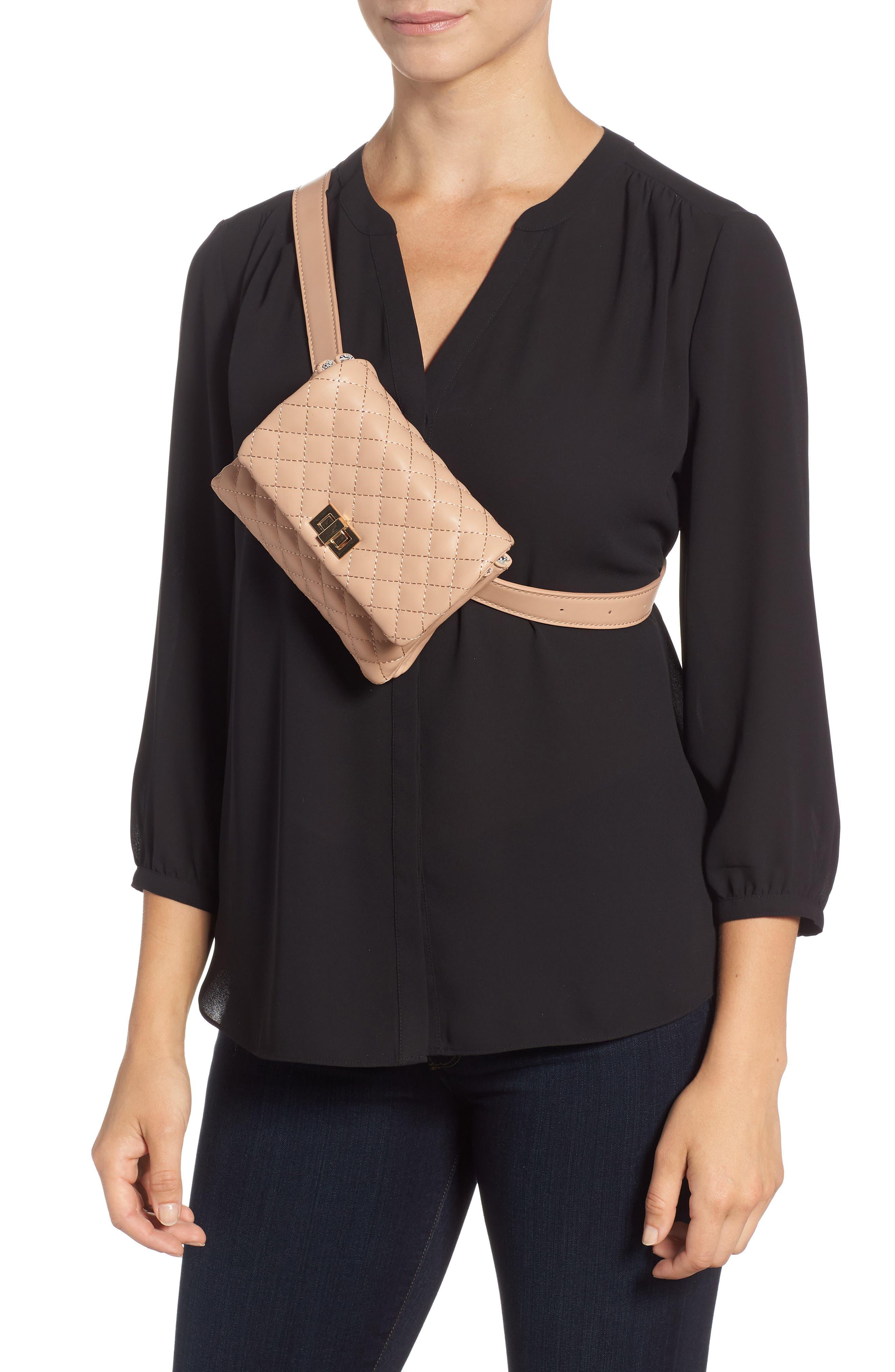 Mali + Lili Quilted Vegan Leather Belt Bag,                             Alternate thumbnail 3, color,                             CAMEL