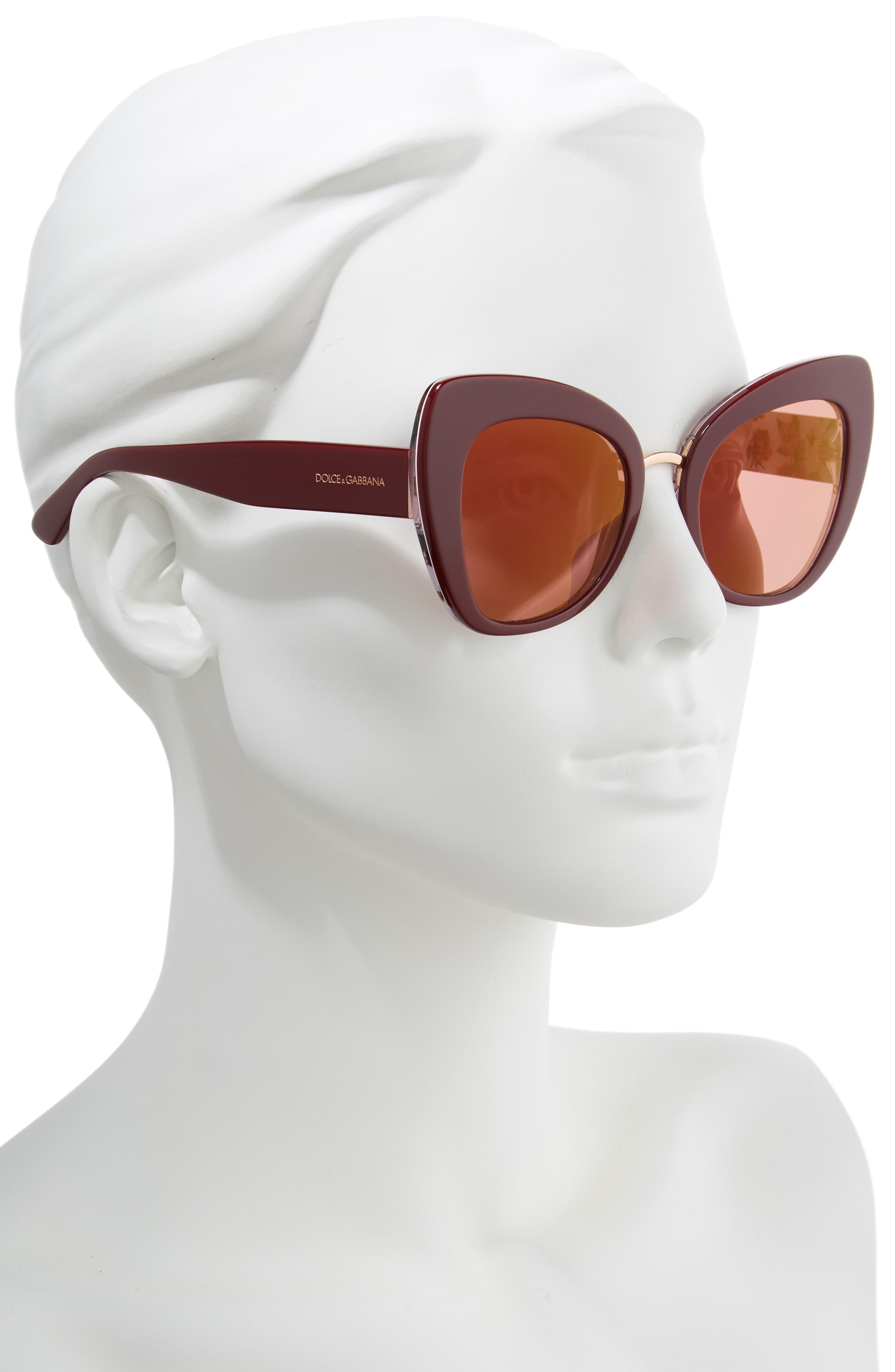 51mm Mirrored Cat Eye Sunglasses,                             Alternate thumbnail 2, color,                             PURPLE/ RED MIRROR