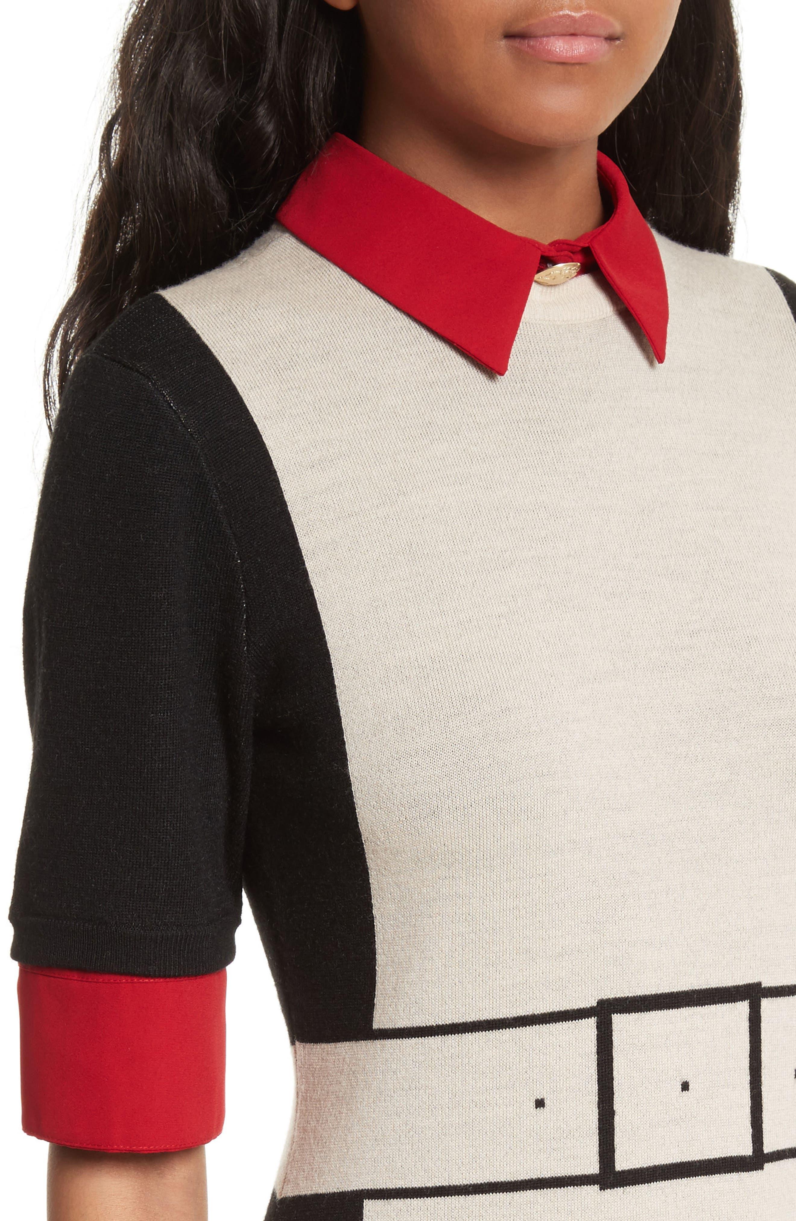 Mia Contrast Trim Sweater Dress,                             Alternate thumbnail 4, color,                             909