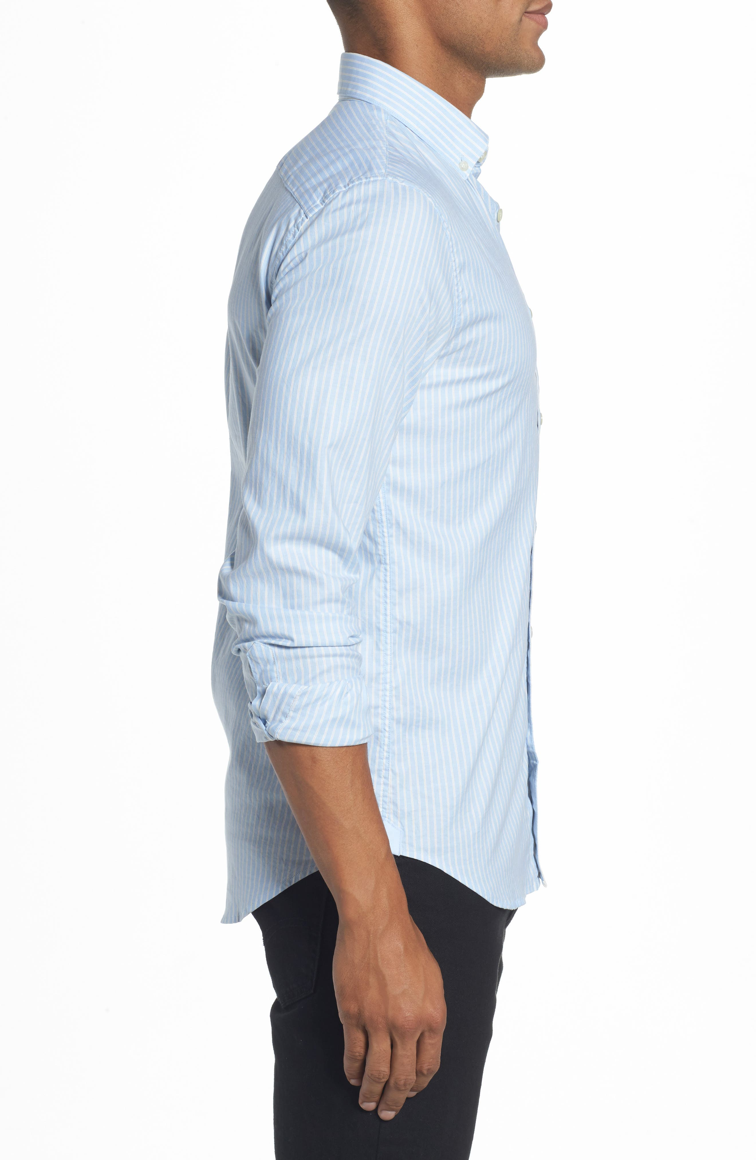 LACOSTE,                             Slim Fit Stripe Shirt,                             Alternate thumbnail 3, color,                             436