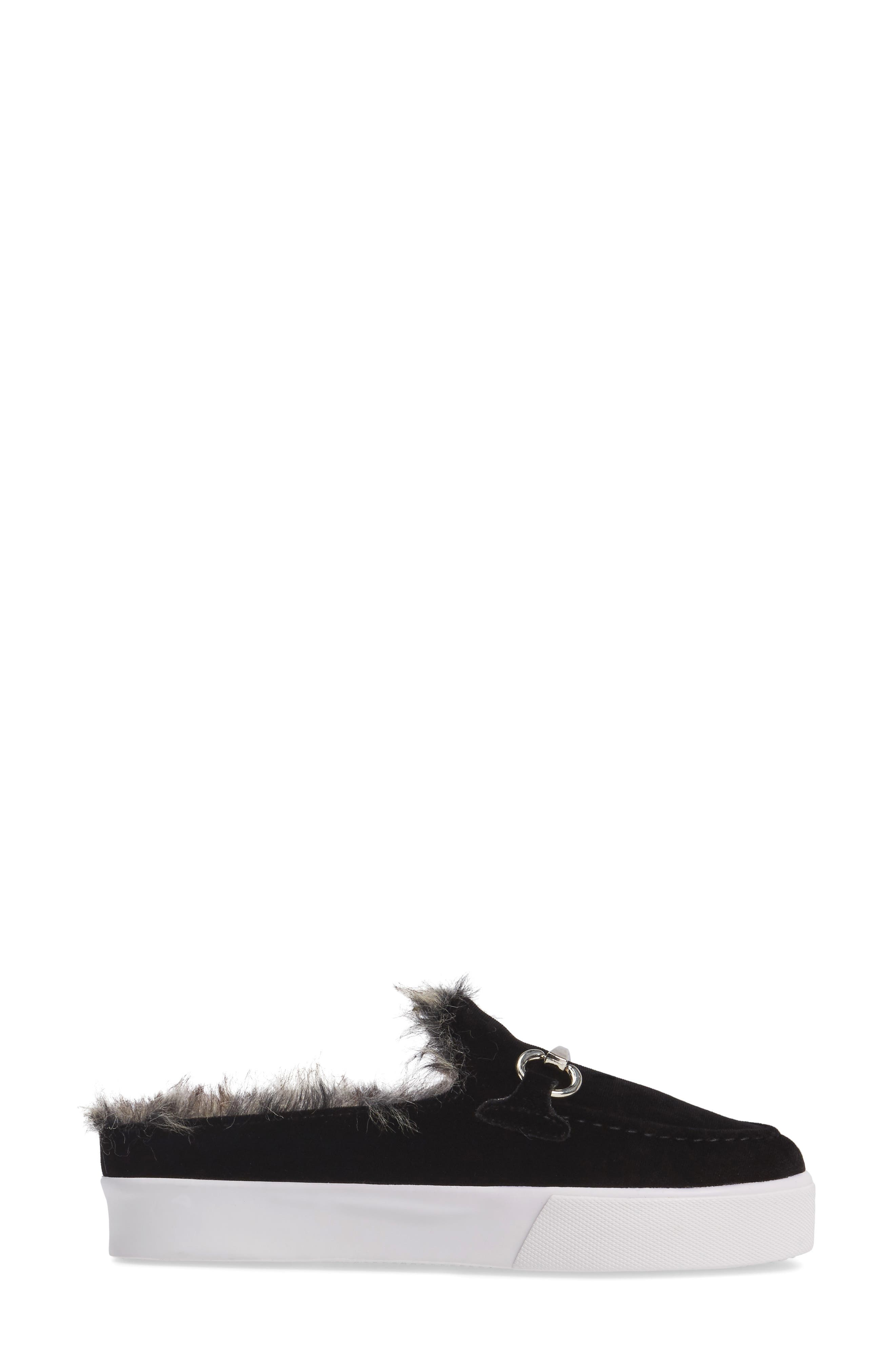 Tico Faux Fur Sneaker Mule,                             Alternate thumbnail 3, color,                             003
