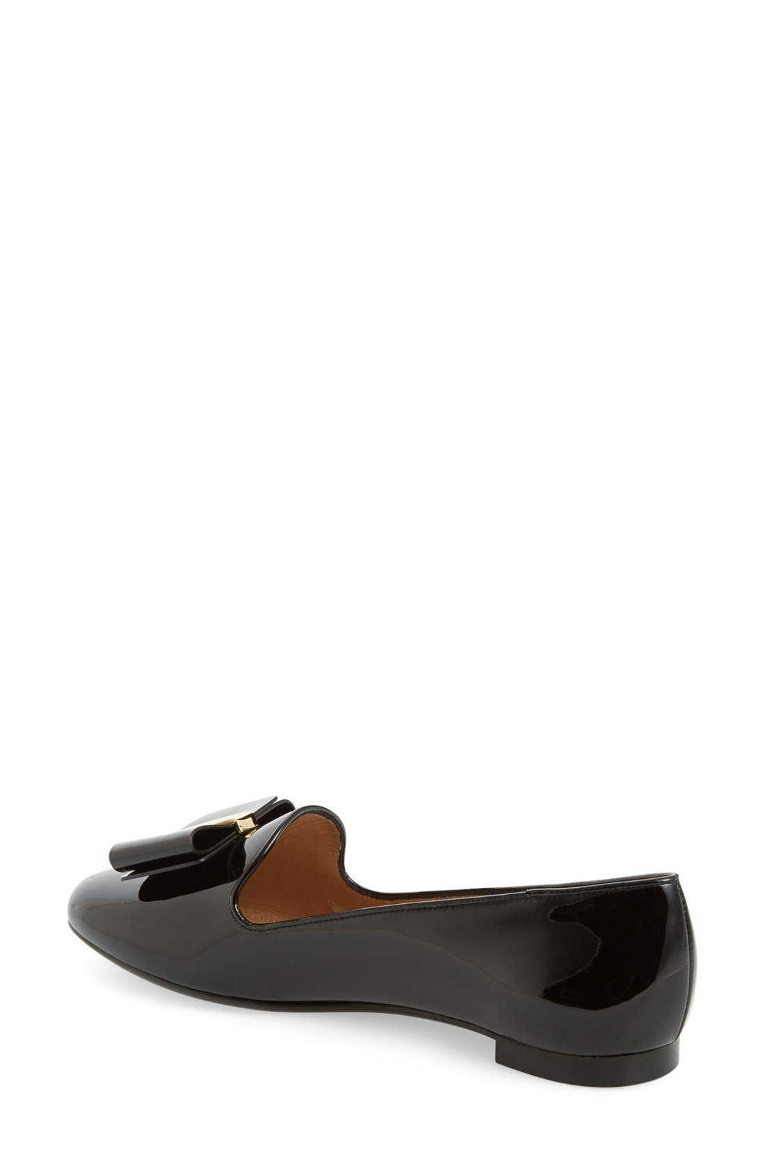 Bow Smoking Loafer,                             Alternate thumbnail 2, color,                             001
