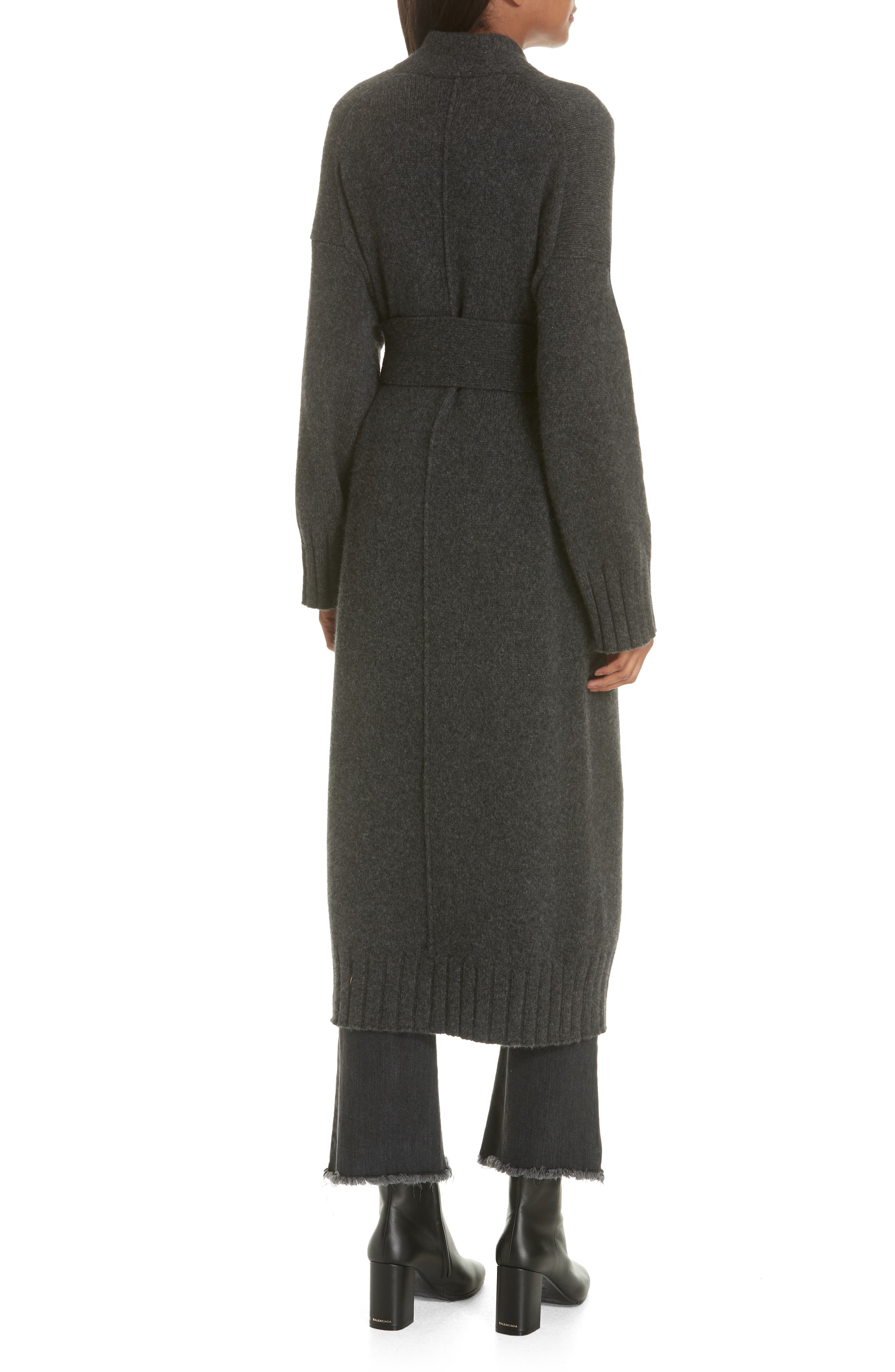 Allana Belted Merino Wool & Camel Hair Blend Cardigan,                             Alternate thumbnail 2, color,                             CHARCOAL