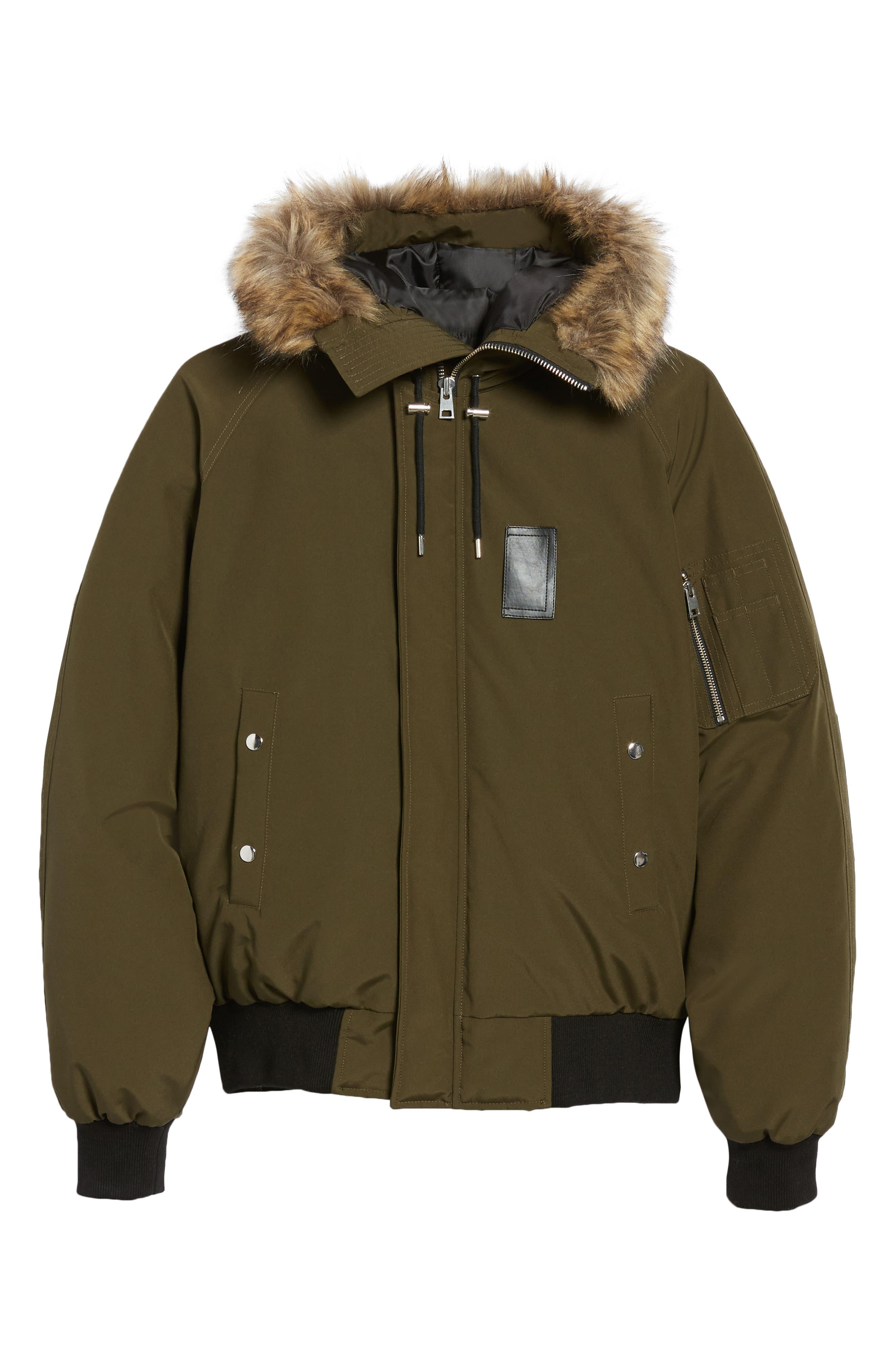 Down Hooded Jacket with Faux Fur Trim,                             Alternate thumbnail 5, color,                             KHAKI