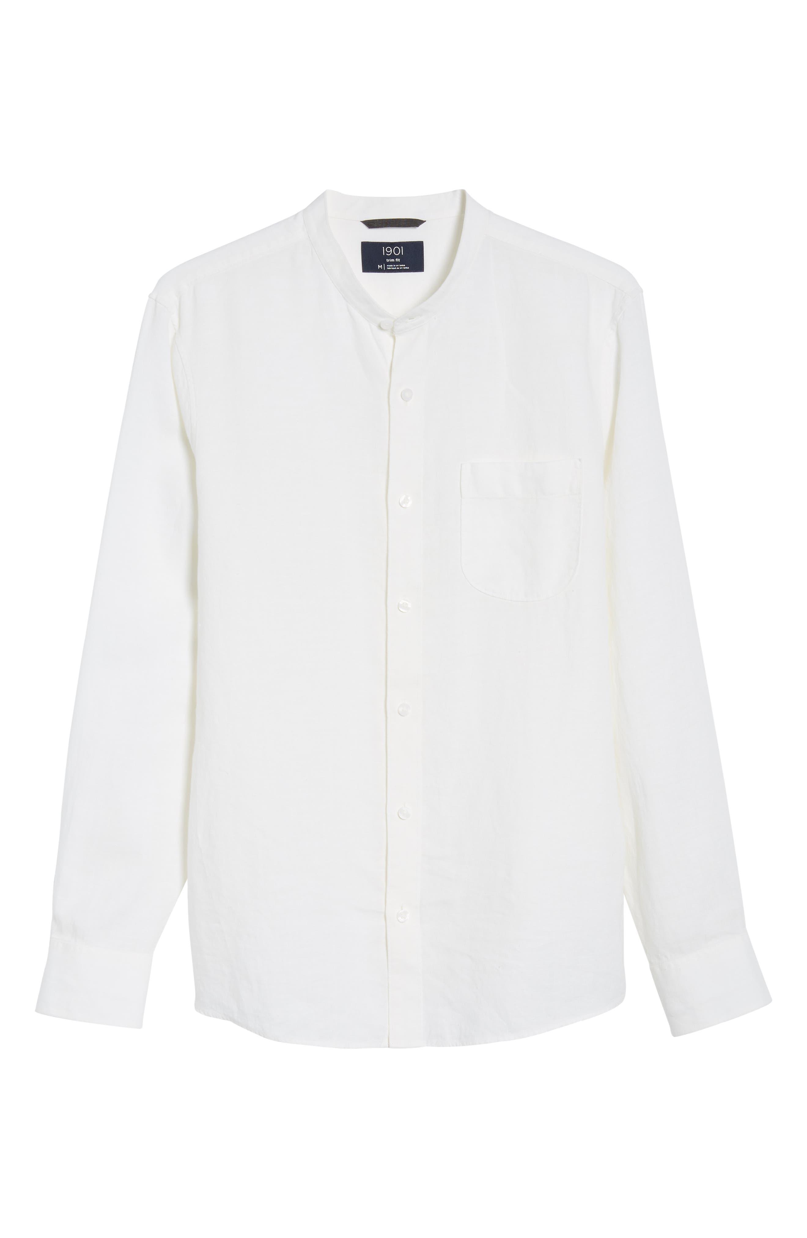 Band Collar Linen Sport Shirt,                             Alternate thumbnail 6, color,                             100