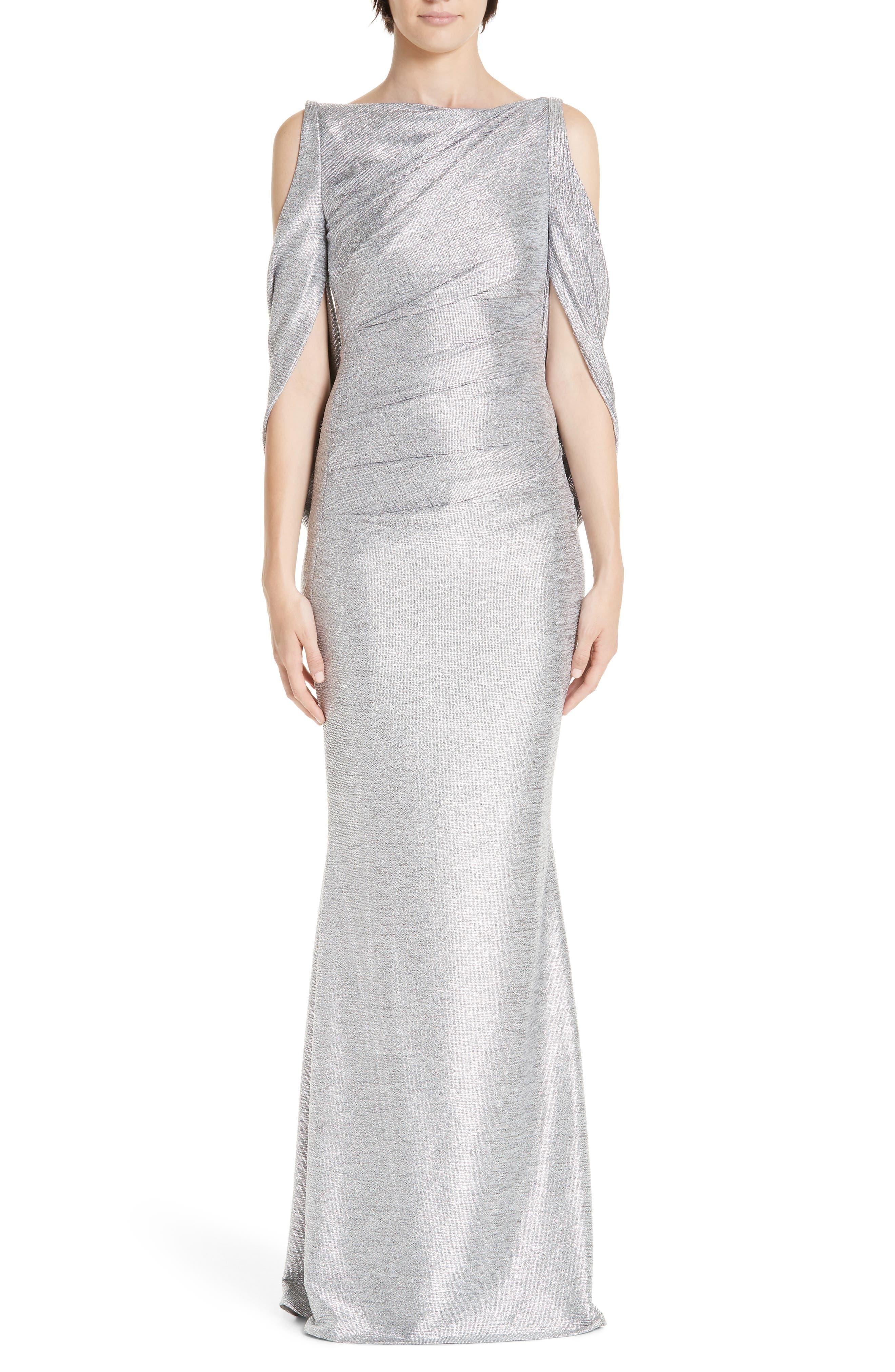 Talbot Runhof Cold Shoulder Drape Back Gown, Metallic