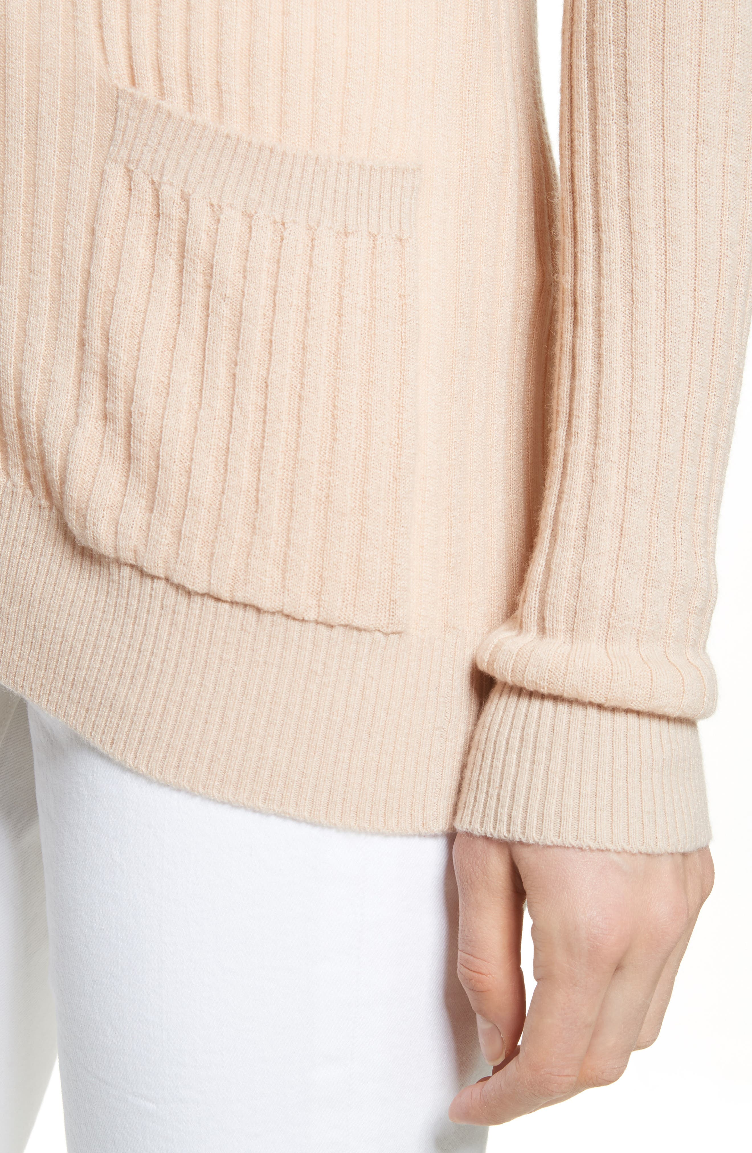 Skinny Ribbed Cashmere Cardigan,                             Alternate thumbnail 4, color,                             298