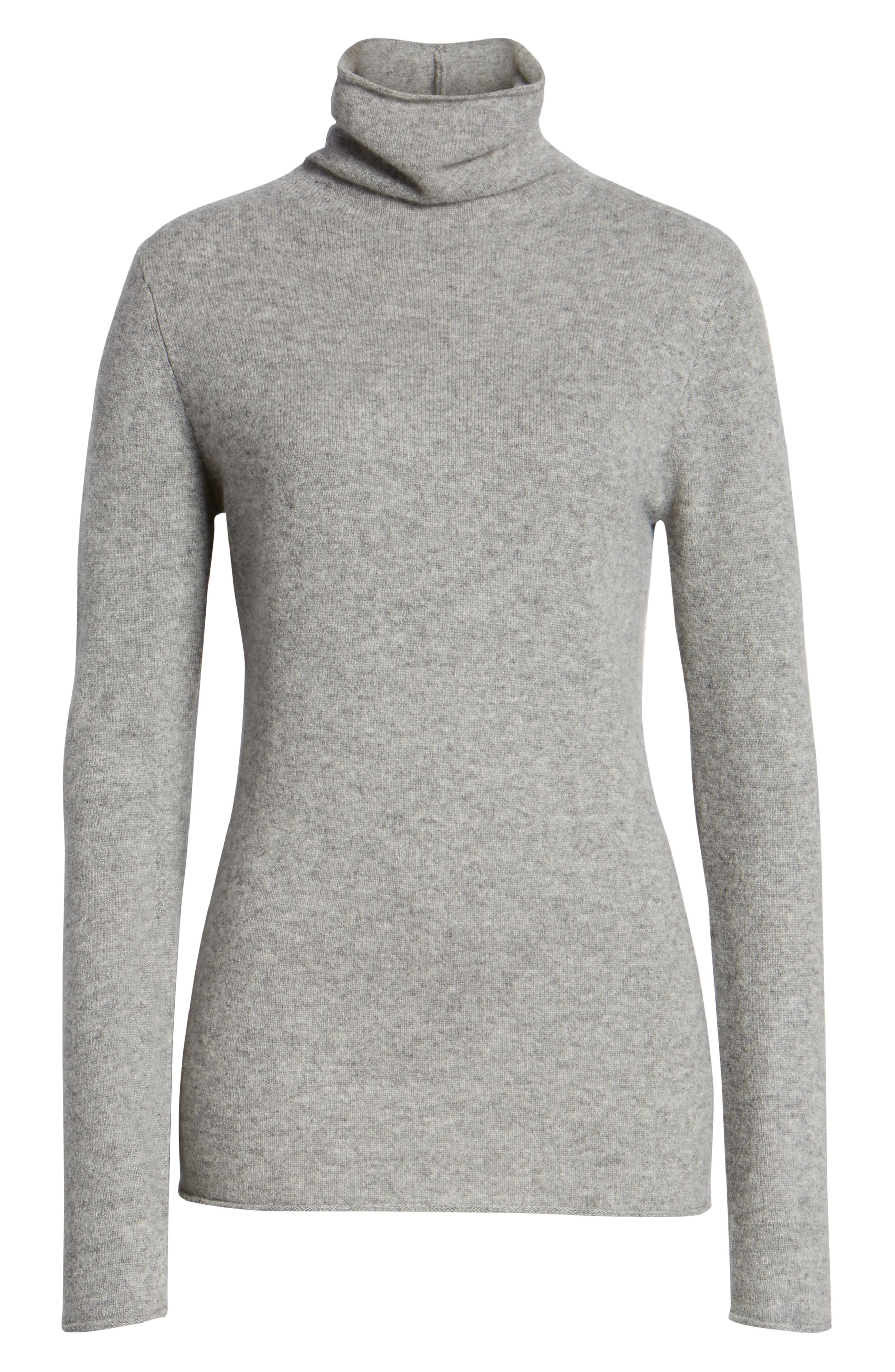 HALOGEN<SUP>®</SUP>,                             Funnel Neck Cashmere Sweater,                             Alternate thumbnail 6, color,                             GREY HEATHER