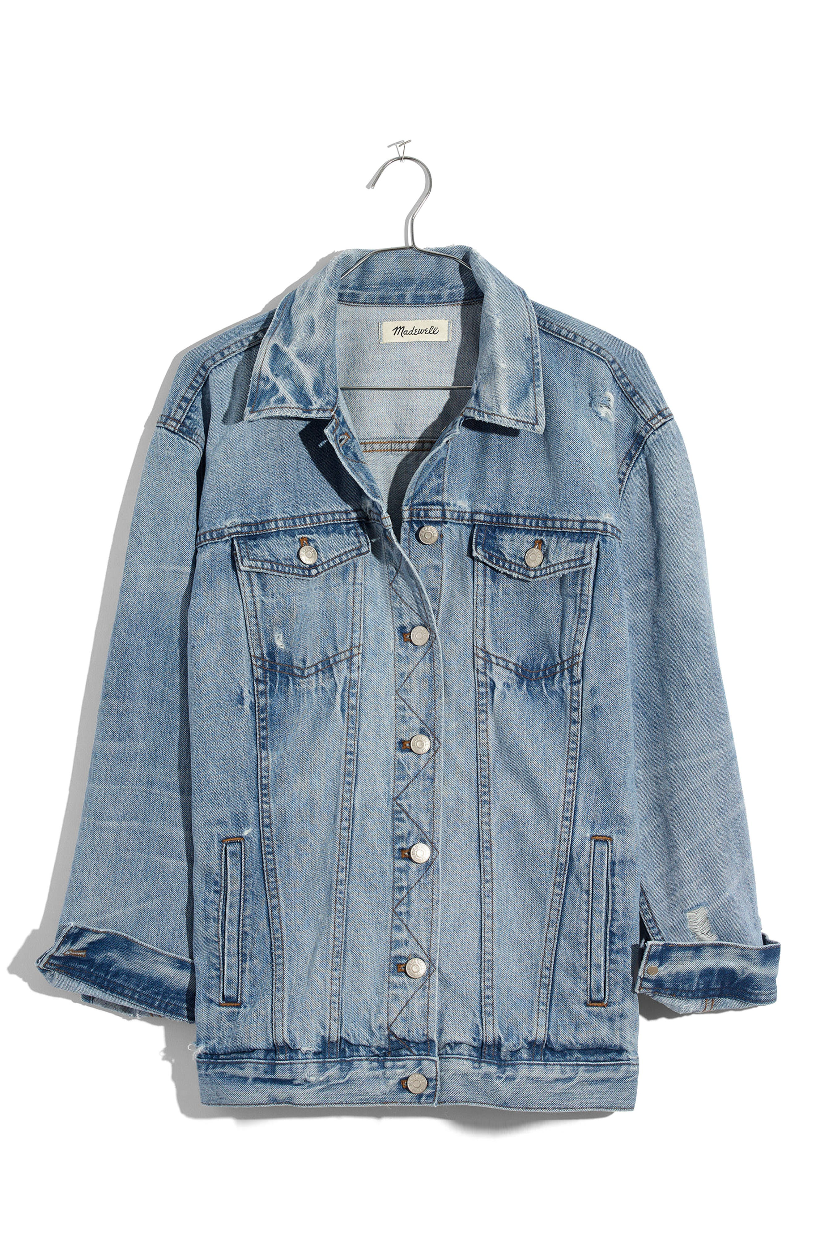 Distressed Oversize Jean Jacket,                             Alternate thumbnail 3, color,                             JUNCTION WASH
